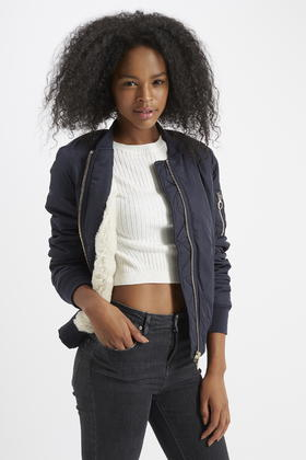 Topshop Faux Fur Lined Ma1 Bomber Jacket In Blue Lyst