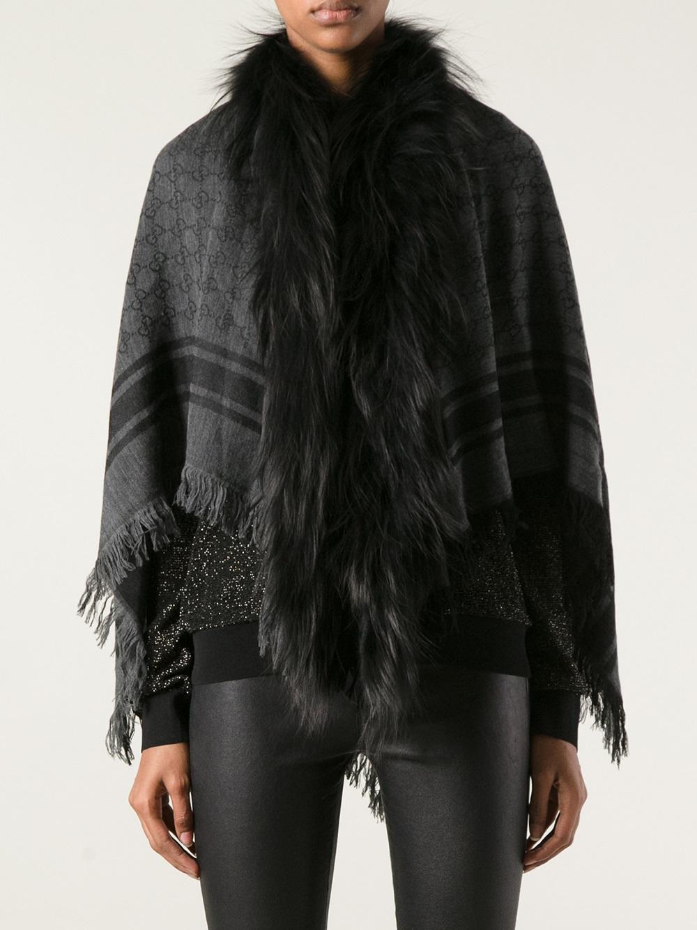 2f28e6e7021 Gucci Fox Fur Trim Shrug in Black - Lyst