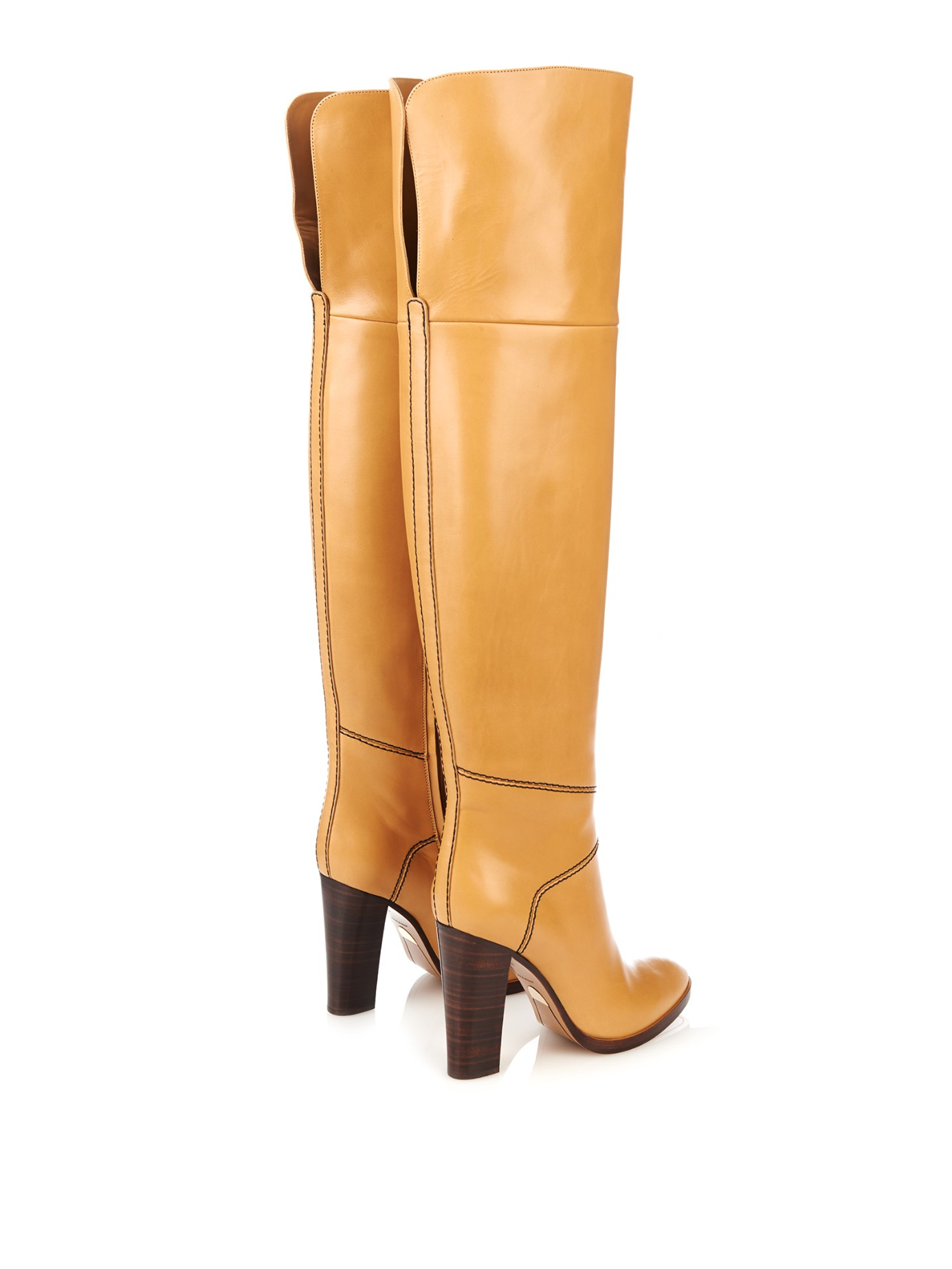 Chloé Graze Over-The-Knee Leather Boots in Brown | Lyst