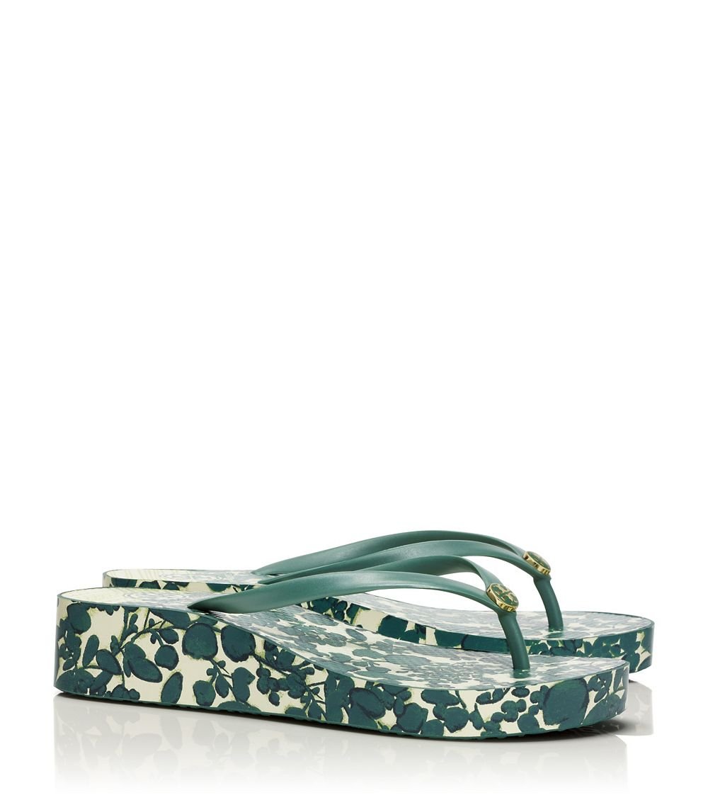 Gallery - Tory Burch Thandie Wedge Flip-Flop In Green Lyst