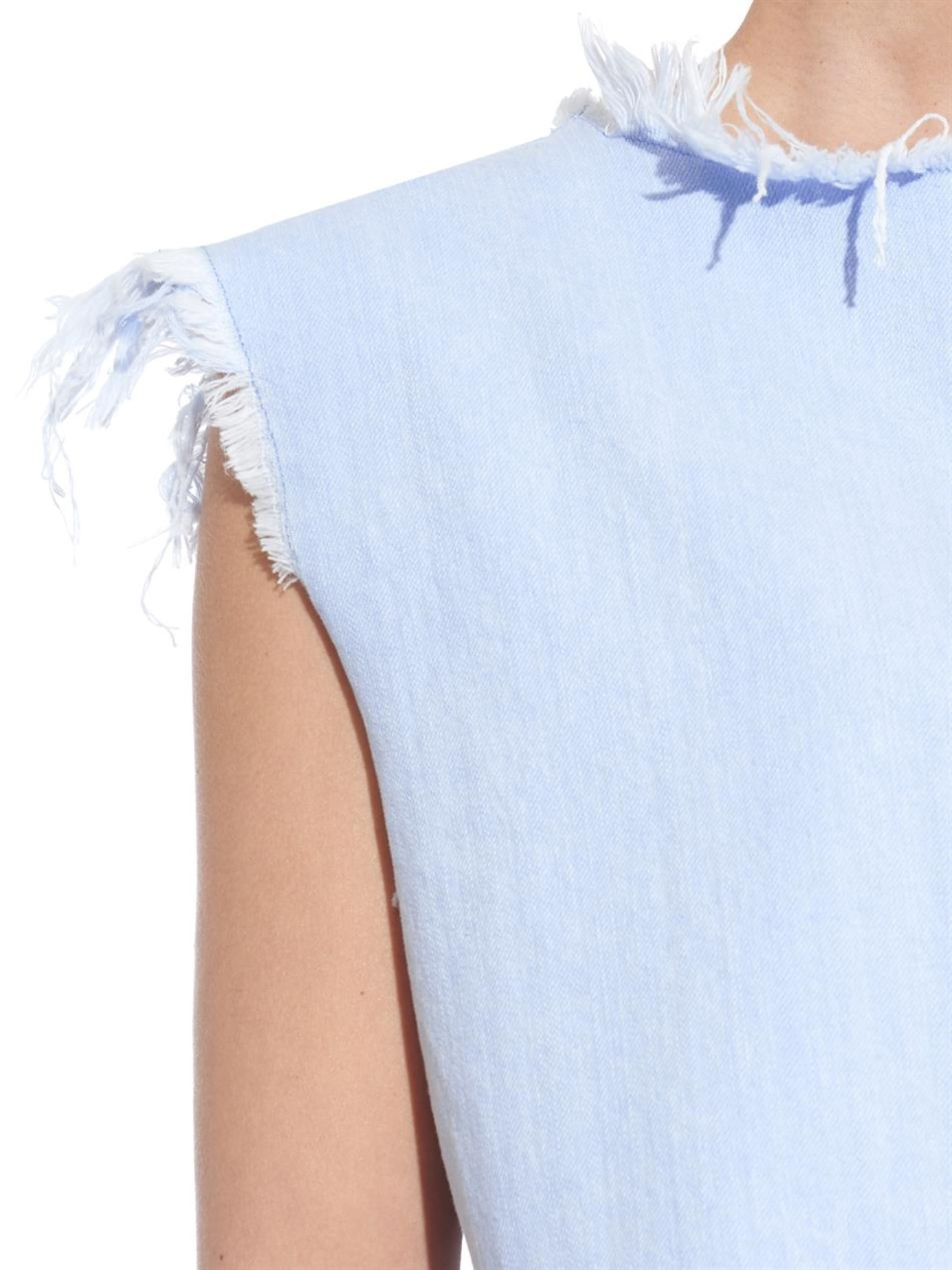 edc366f41b Lyst - Marc By Marc Jacobs Frayed-edge Sleeveless Denim Top in Blue