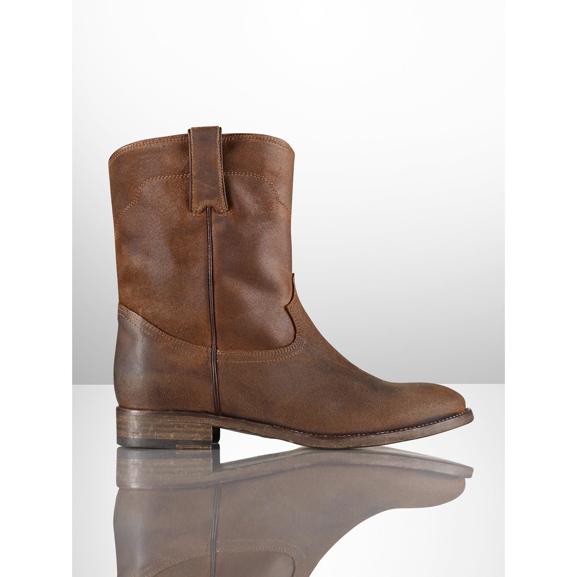 Ralph lauren Distressed-Suede Marlow Boot in Brown   Lyst