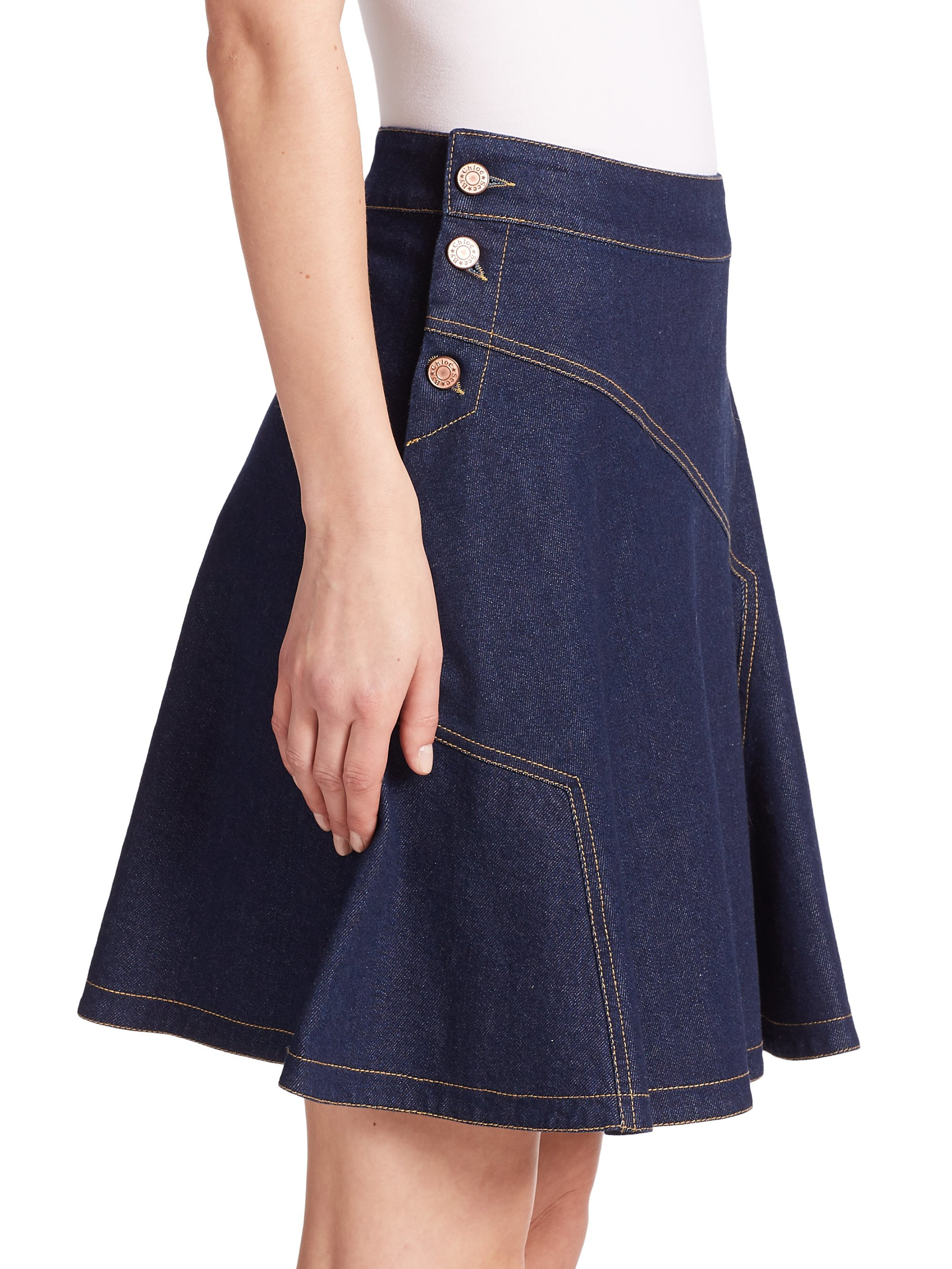 See by chloé Flared Denim Skirt in Blue | Lyst
