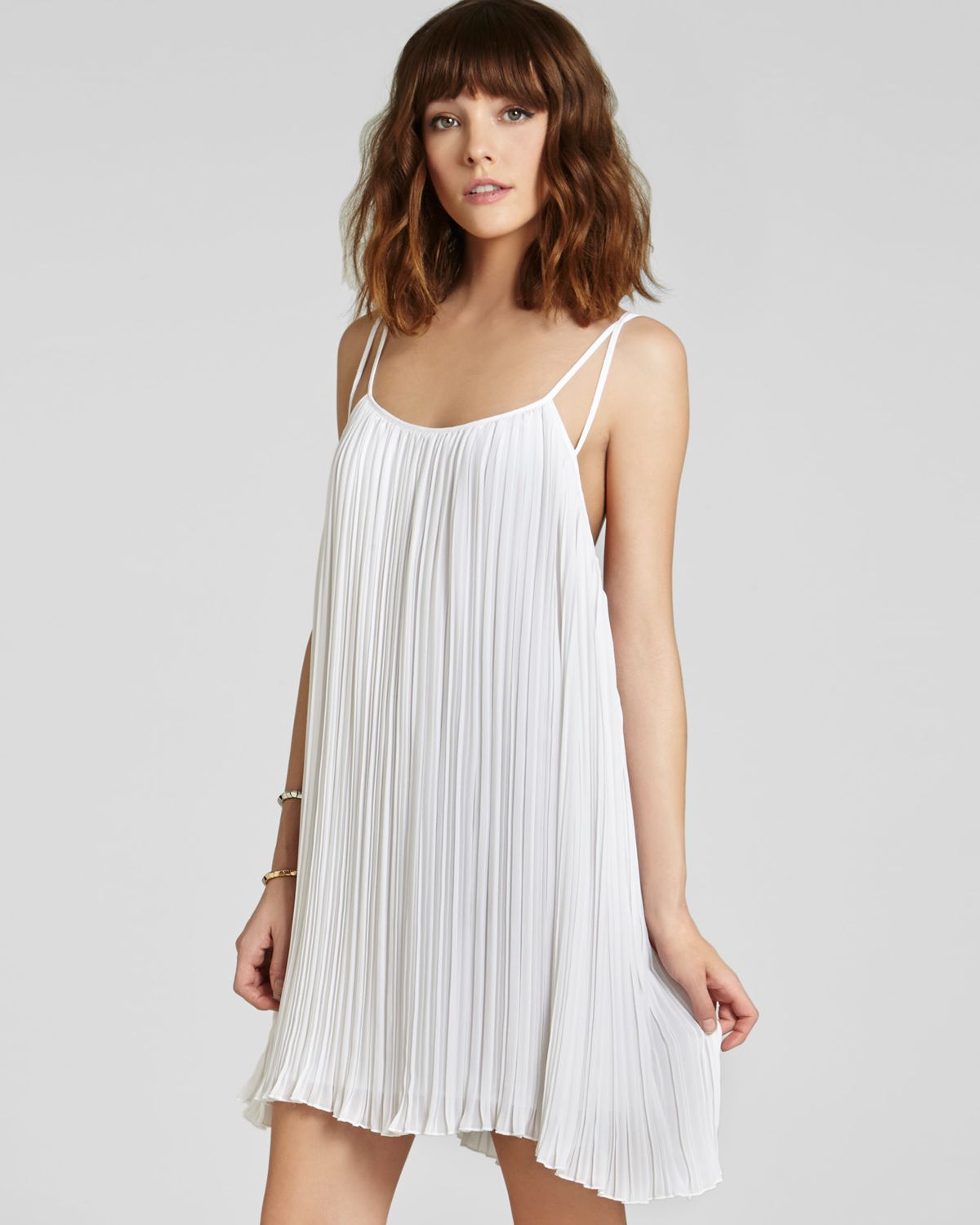 d86c0c40124 BCBGeneration Dress Strappy Pleated in White - Lyst