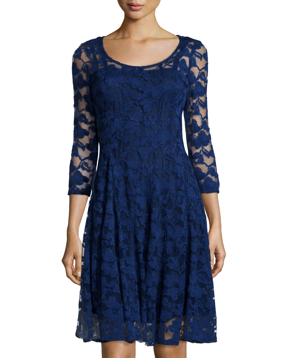 Chetta b cap-sleeve belted lace dress