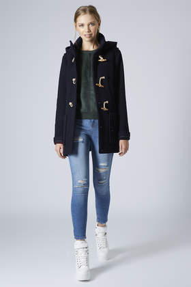 Topshop Hooded Wool Duffle Coat in Blue | Lyst