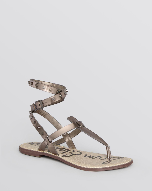 51d0fa637 Sam Edelman Flat Thong Gladiator Sandals Gabriela in Gray - Lyst
