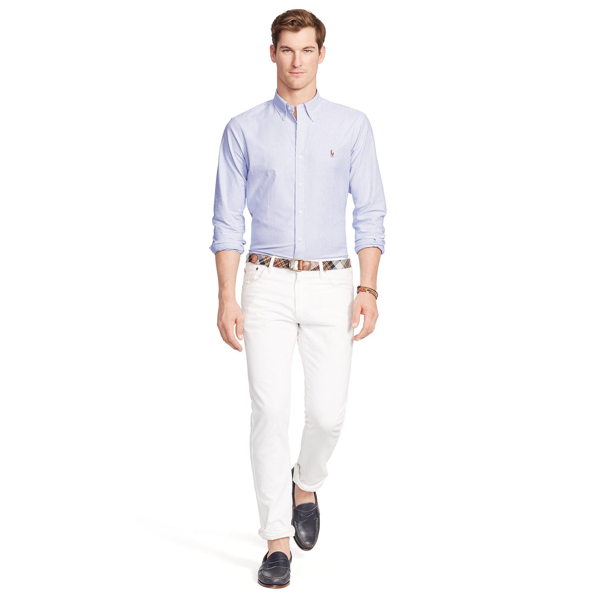 b8138820c4 Polo Ralph Lauren Slim-fit Stretch Oxford Shirt in Blue for Men - Lyst