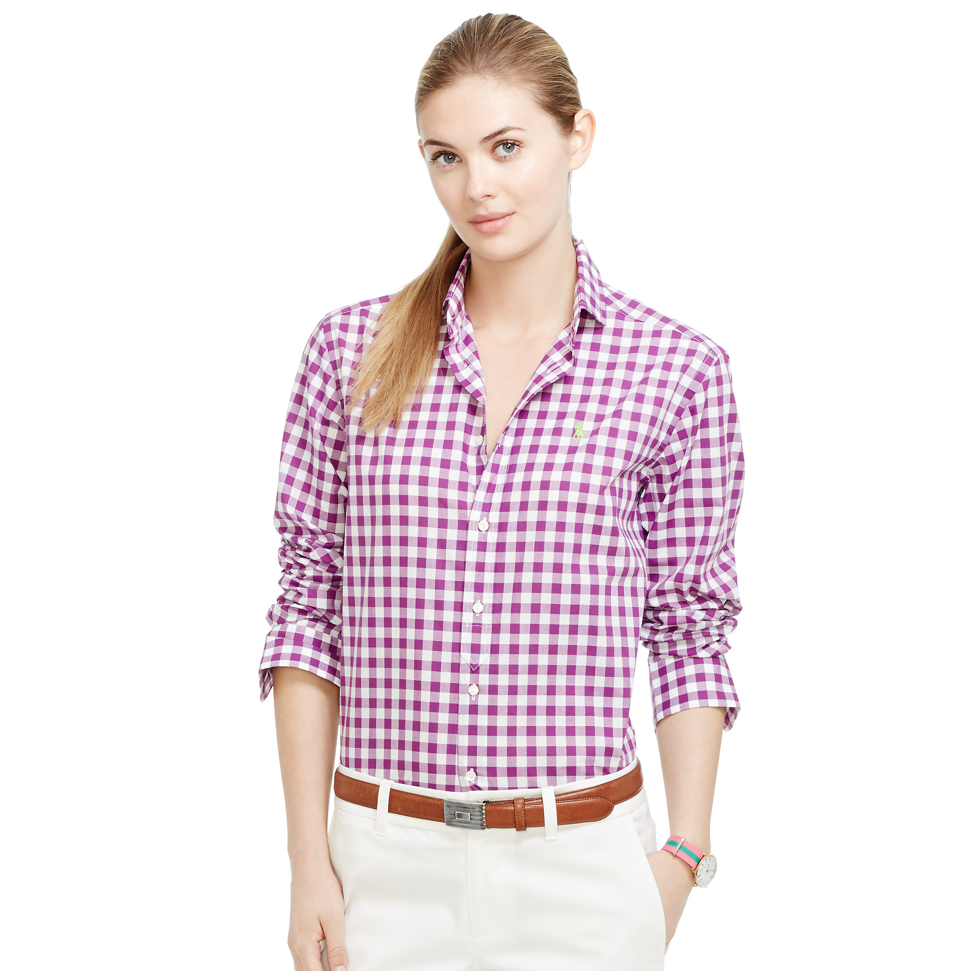Lyst Ralph Lauren Golf Gingham Cotton Shirt In Purple