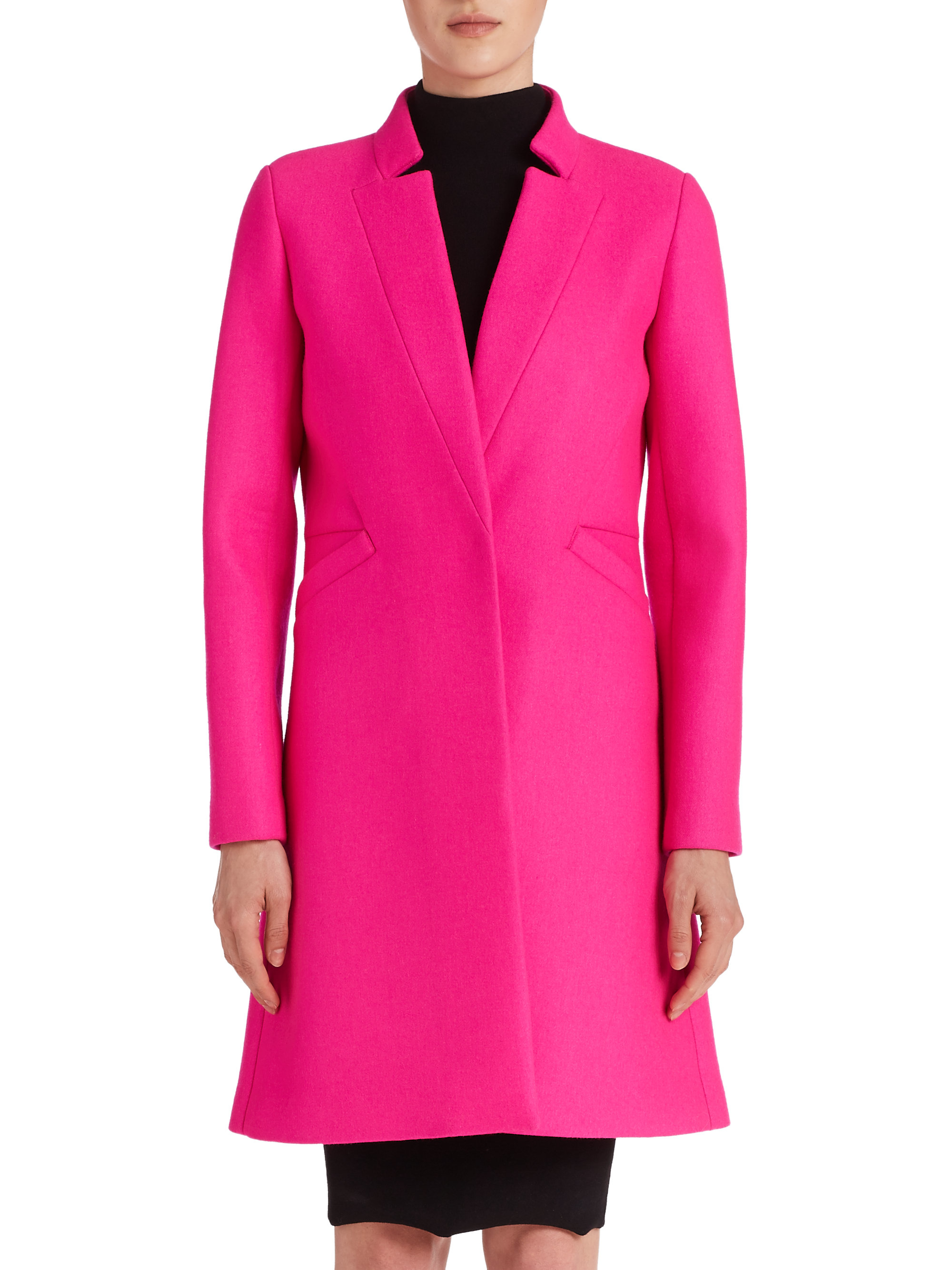 Milly Tailored Slim Coat in Pink | Lyst