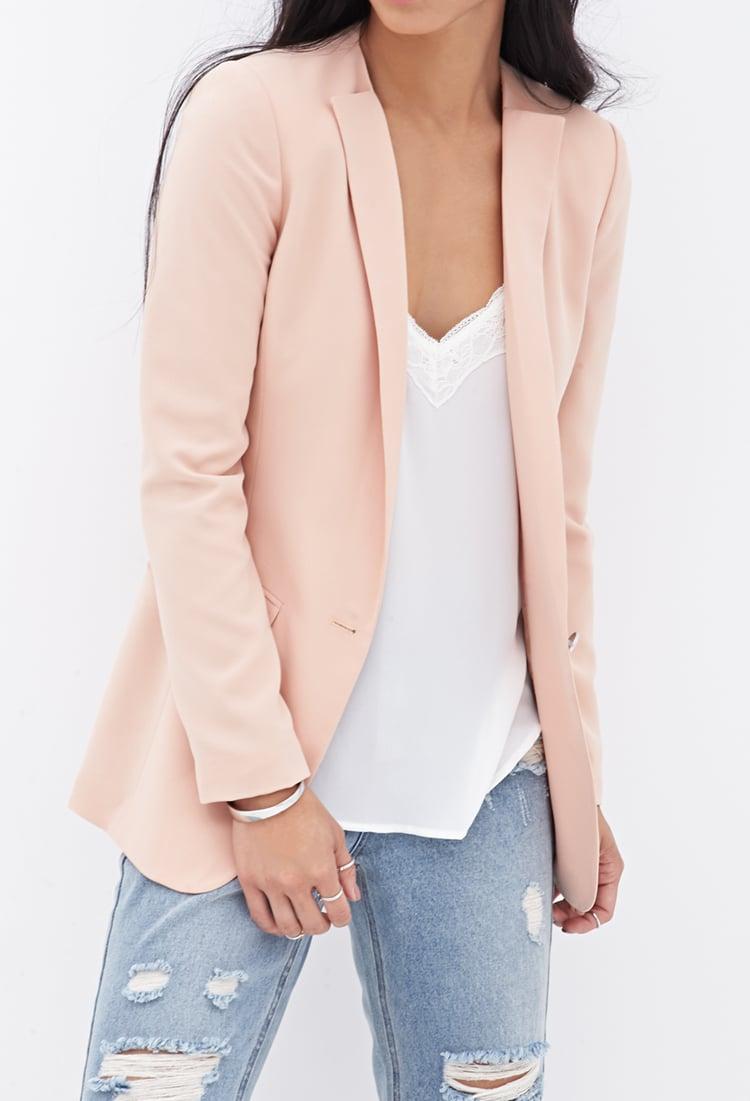 Forever 21 Collarless Boyfriend Blazer in Pink | Lyst