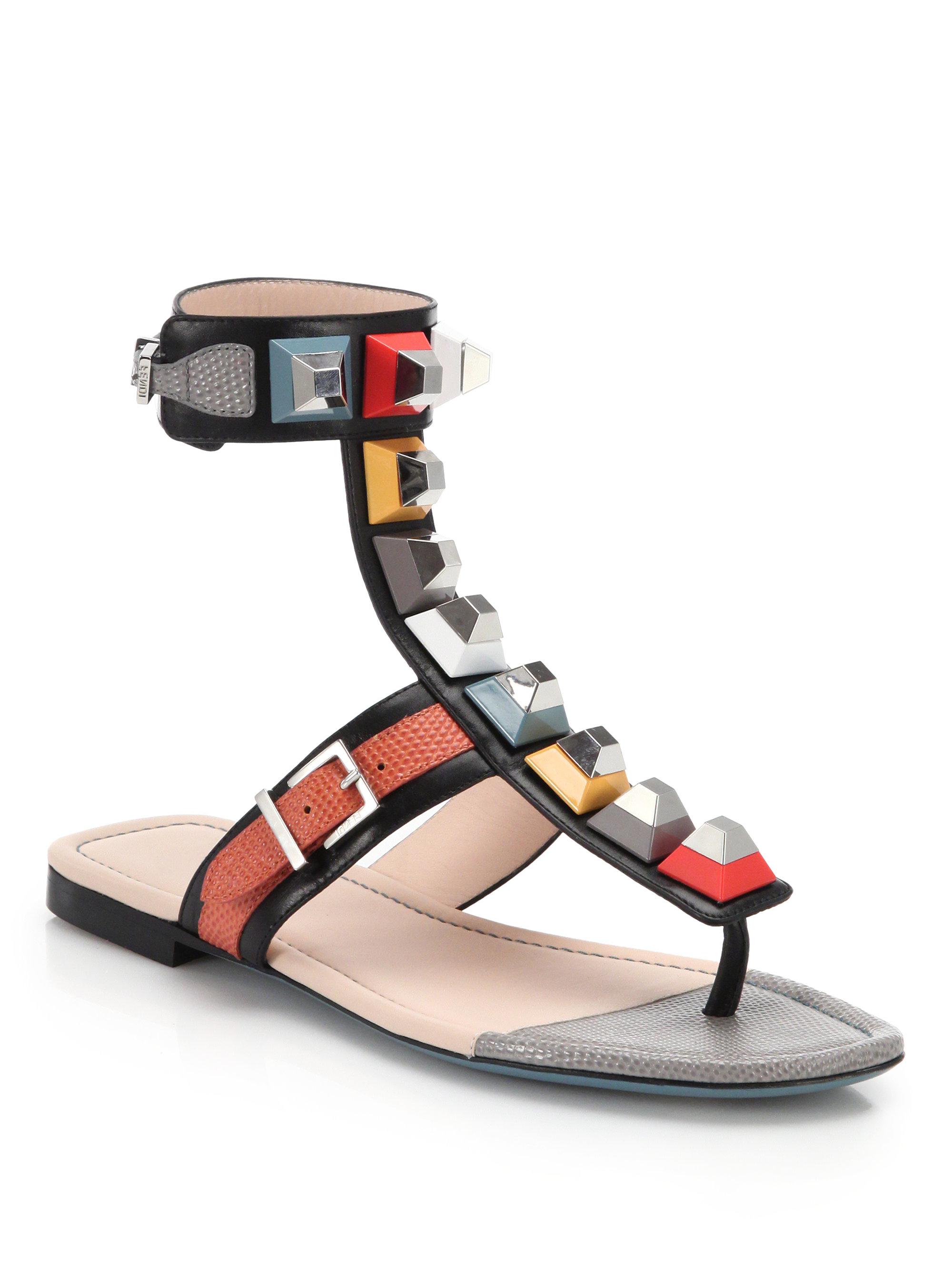 Fendi Studded Gladiator Sandals In Black Lyst