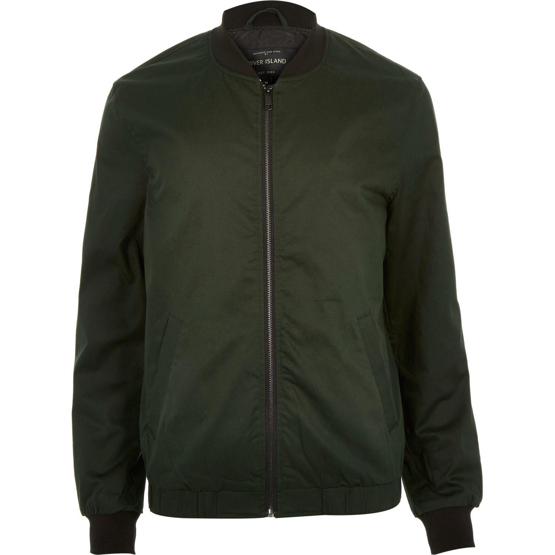 River island Dark Green Bomber Jacket in Green for Men | Lyst