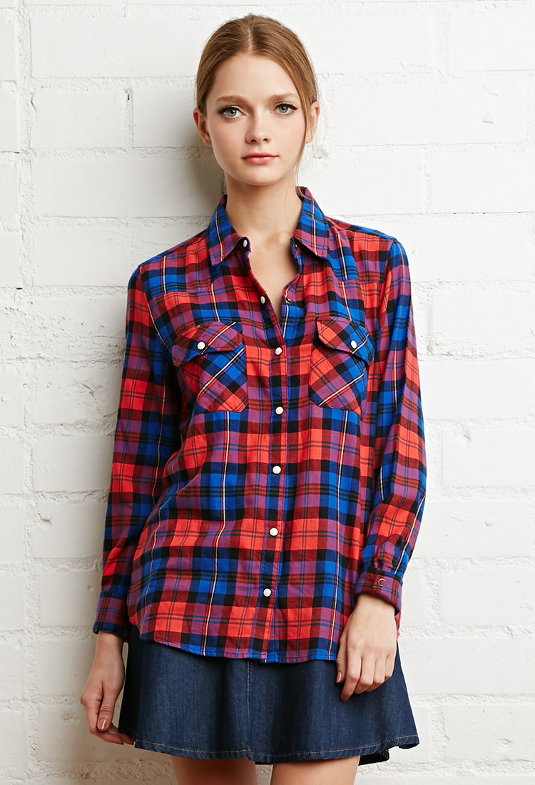 Forever 21 Tartan Plaid Snap Button Shirt In Red Lyst