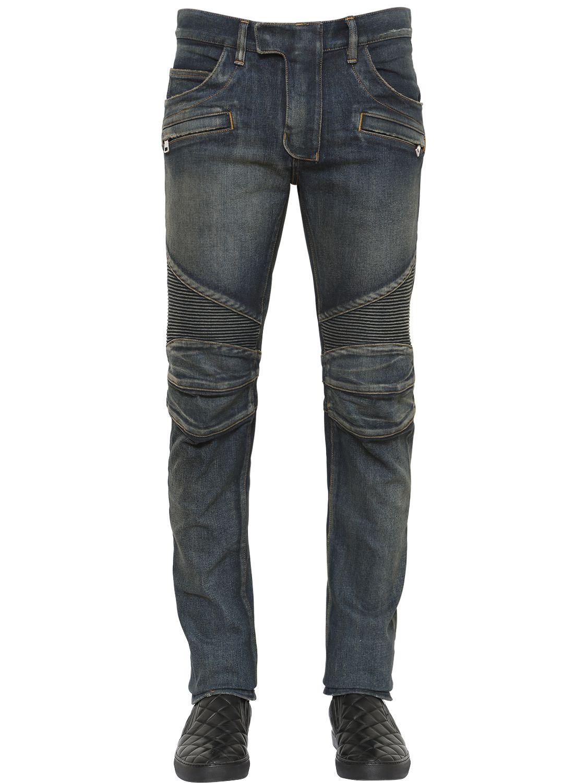 balmain biker washed stretch denim jeans in blue for men lyst. Black Bedroom Furniture Sets. Home Design Ideas