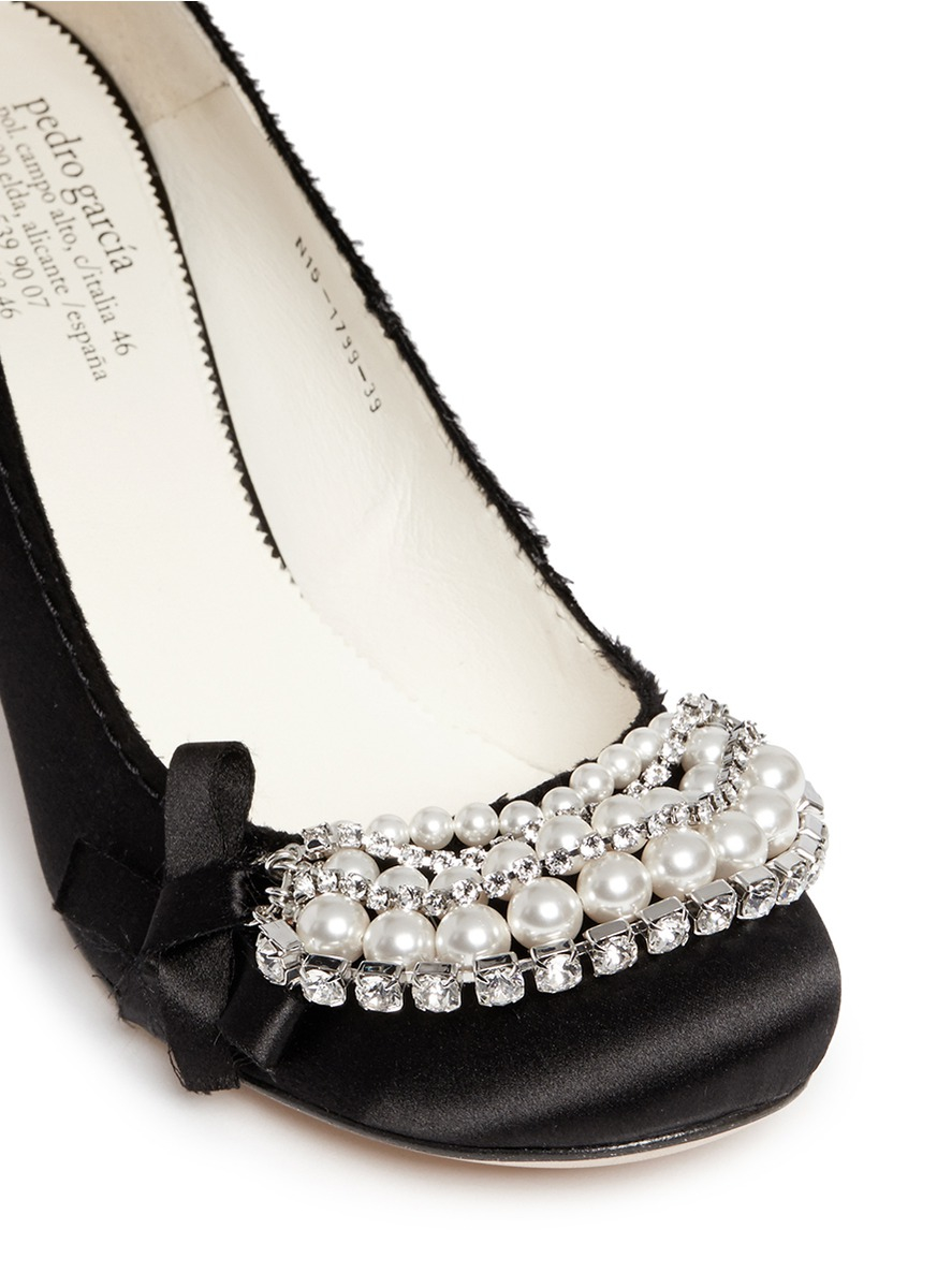 outlet 100% authentic Pedro Garcia Satin Embellished Pumps free shipping sale outlet comfortable 3ptTj