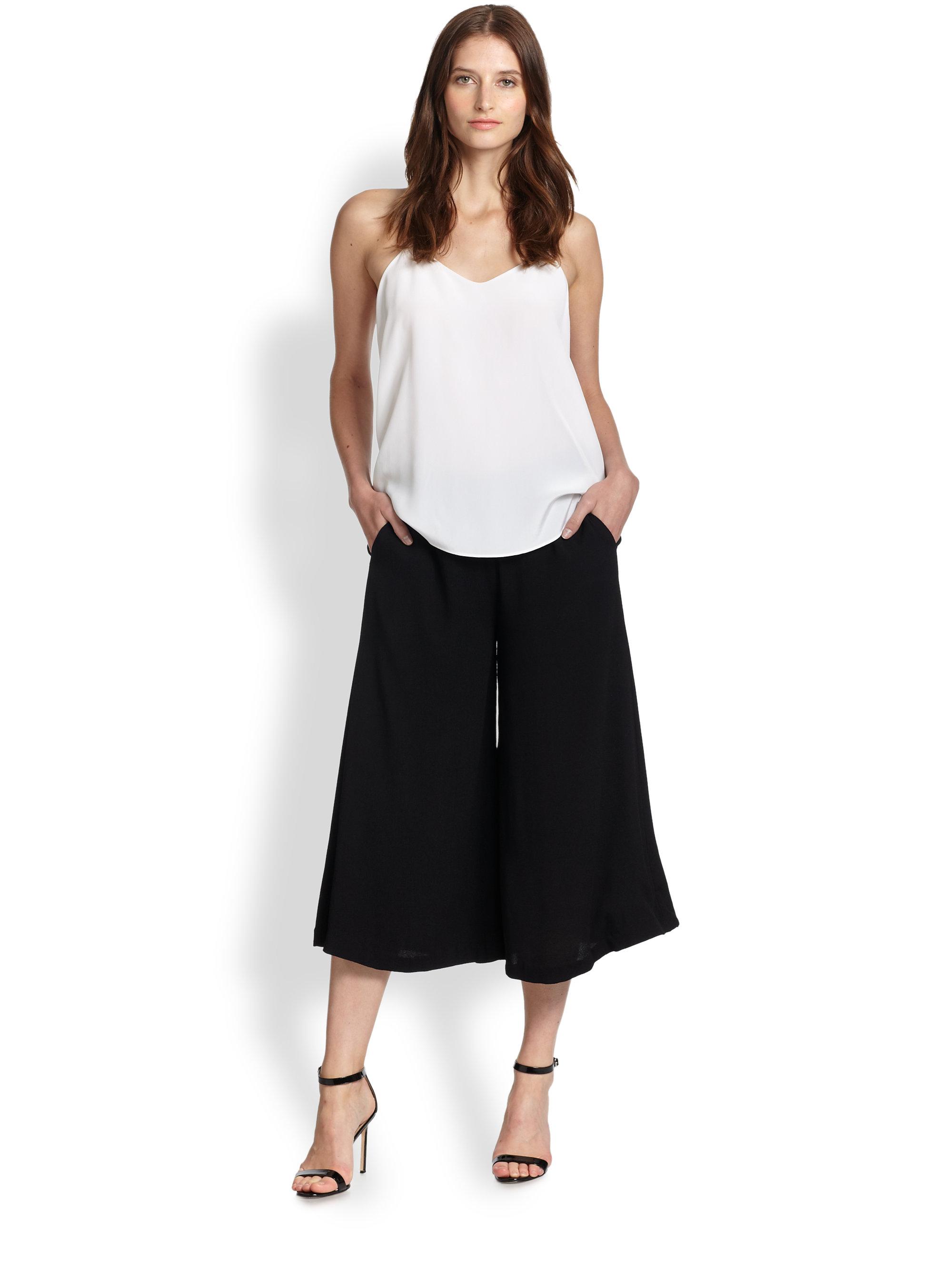 Line & dot Wide-Leg Gaucho Pants in Black | Lyst