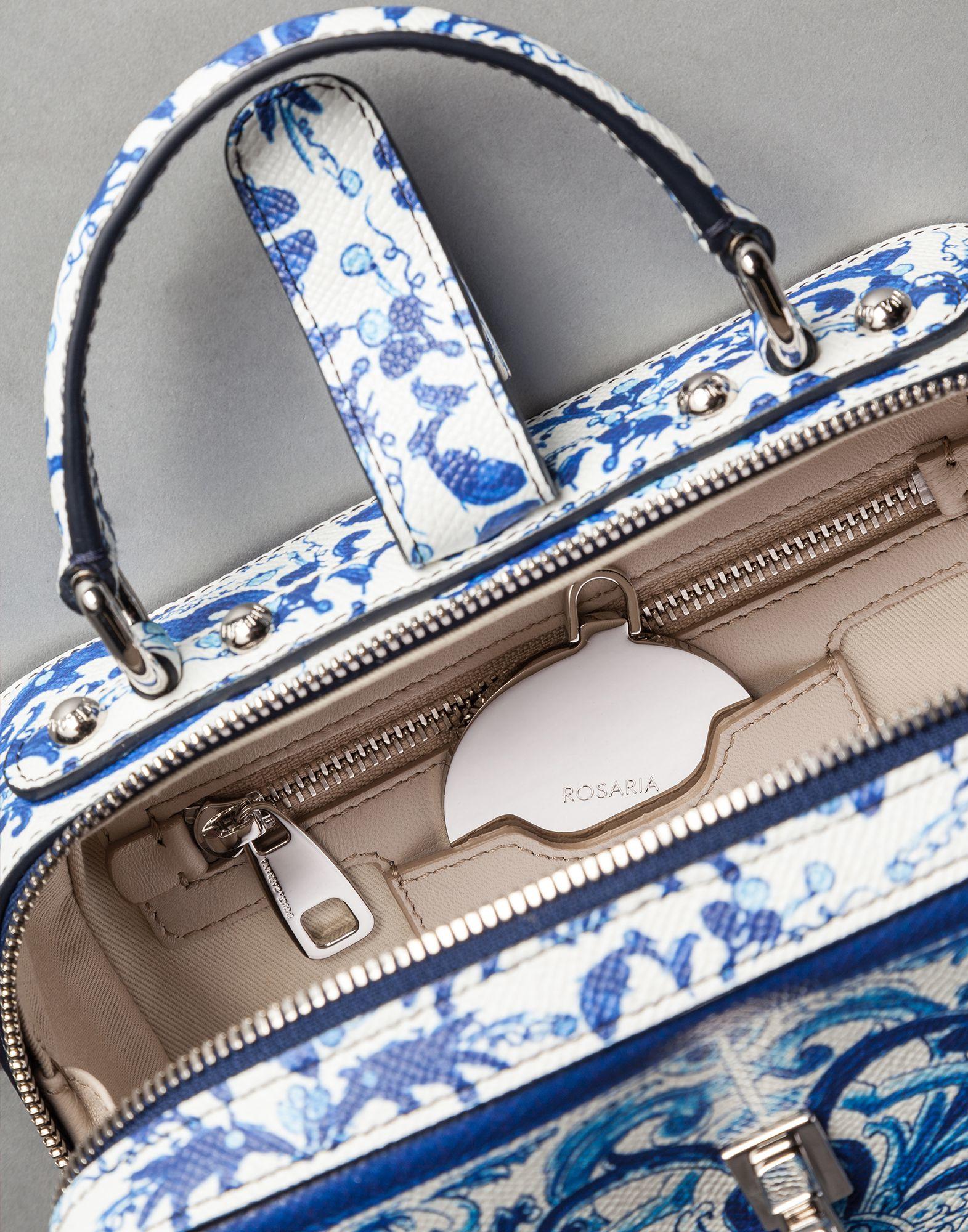0a02cc8b4e Lyst - Dolce   Gabbana Blue Majolica Print Calfskin Rosary Bag in Blue