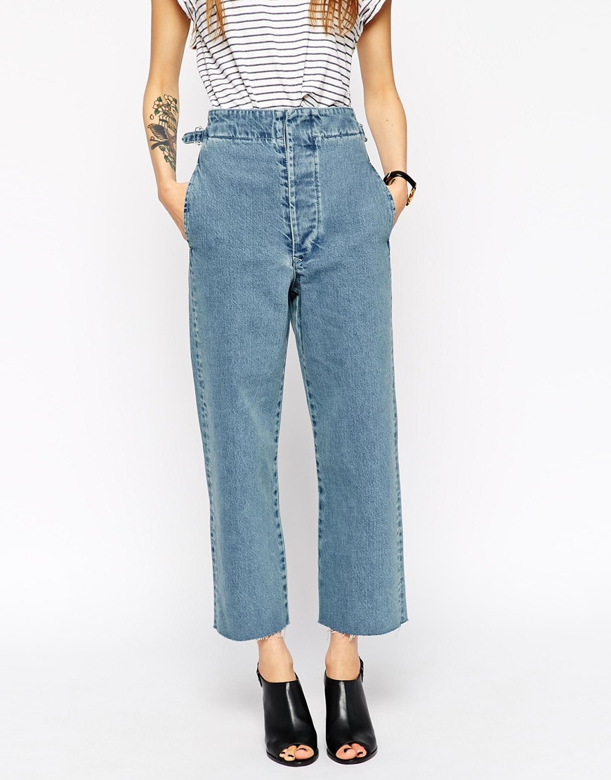 Asos Denim High Waisted Wide Leg Jeans In Fox Midwash Blue in Blue ...