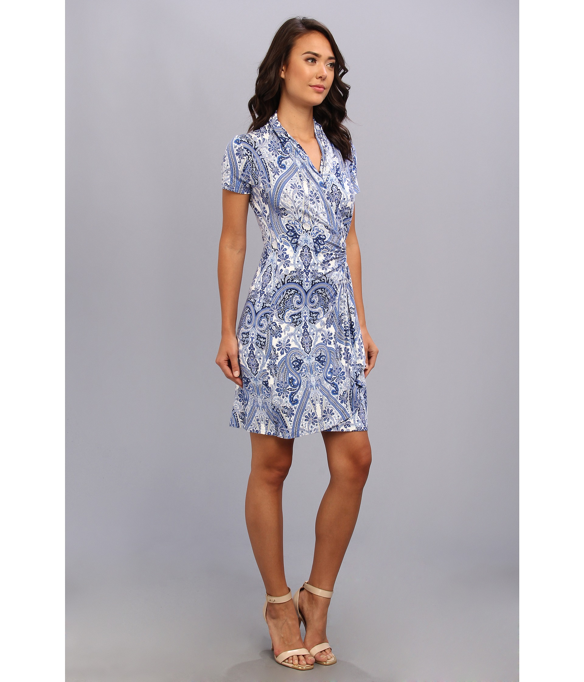 2ad29ea1bc8 Karen Kane Paisley Cascade Wrap Dress in Blue - Lyst