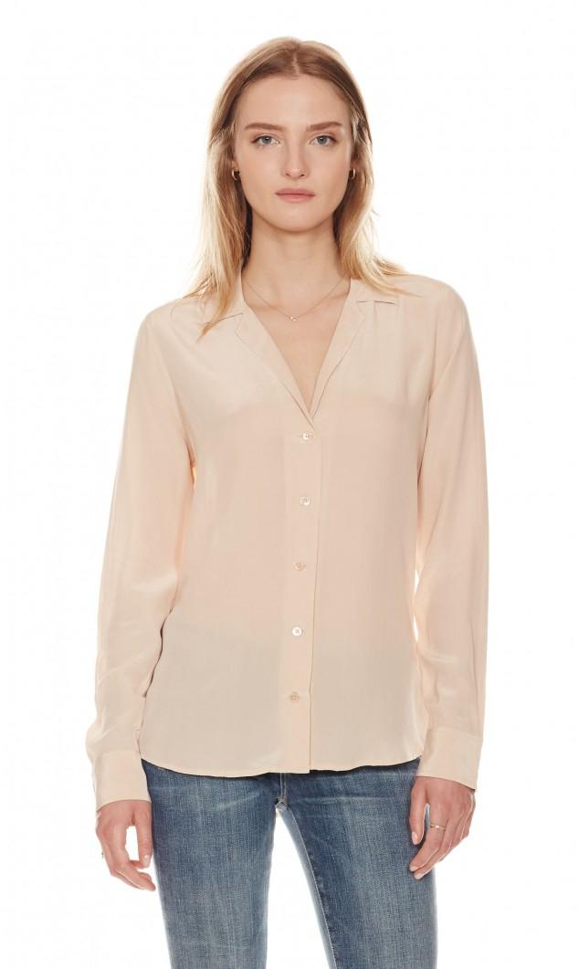 Equipment long sleeve adalyn silk shirt in natural lyst for Silk long sleeve shirt