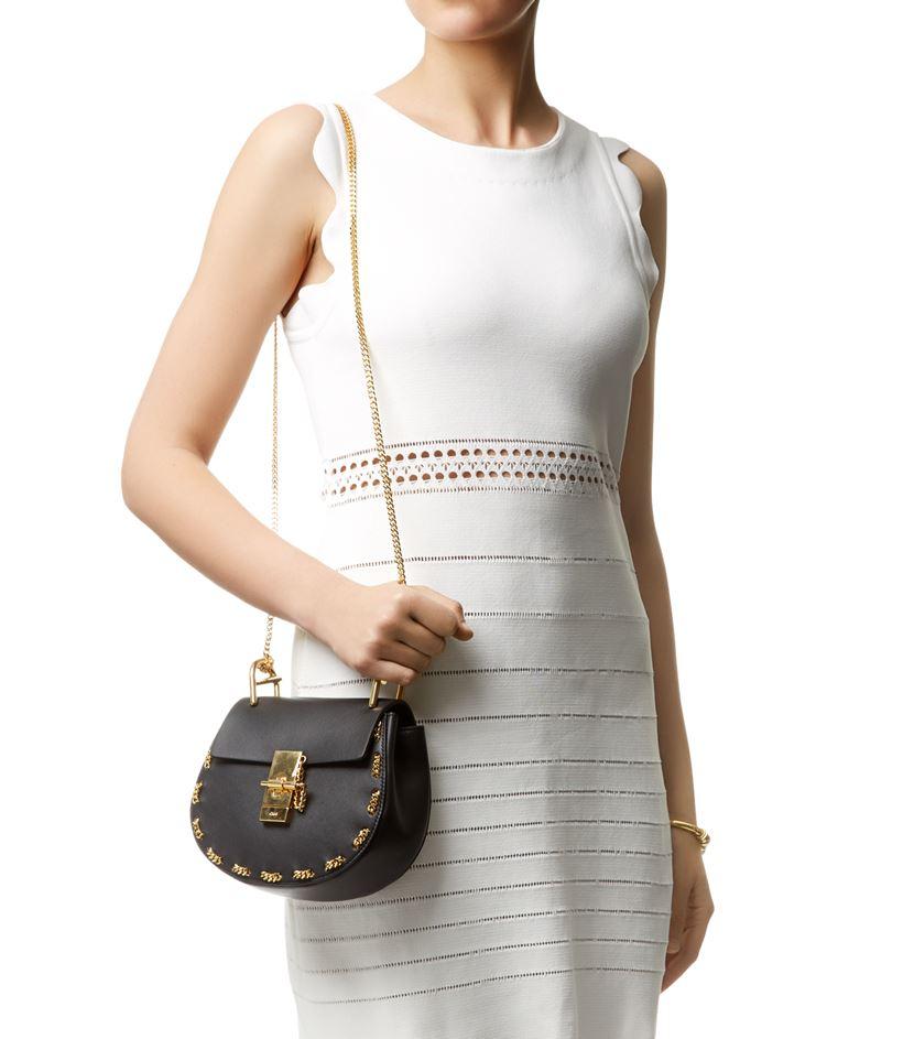 Chlo�� Mini Drew Chain Trim Shoulder Bag in Black | Lyst