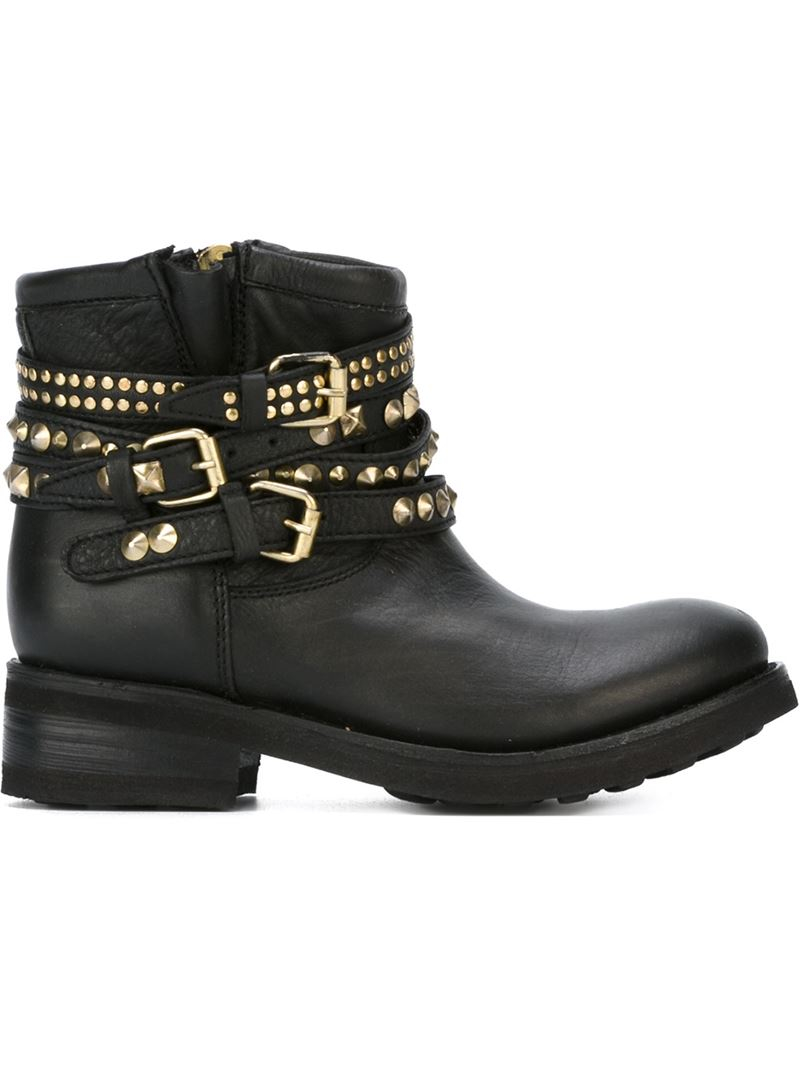 ash studded biker boots in black lyst