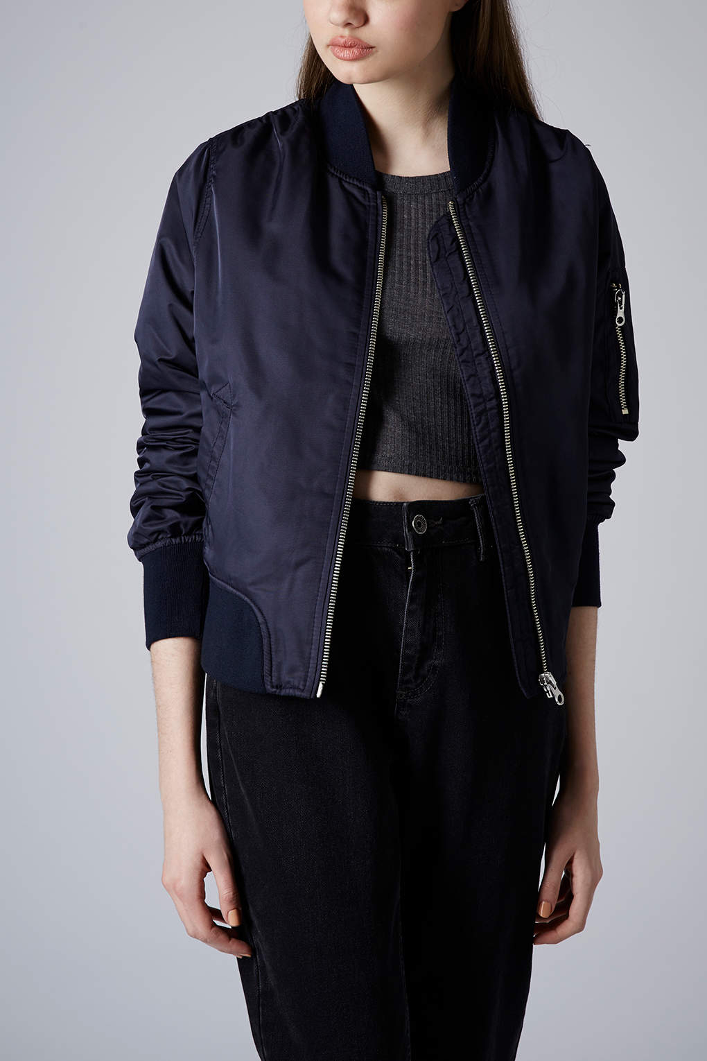 Topshop Ultimate Ma1 Bomber Jacket in Blue | Lyst