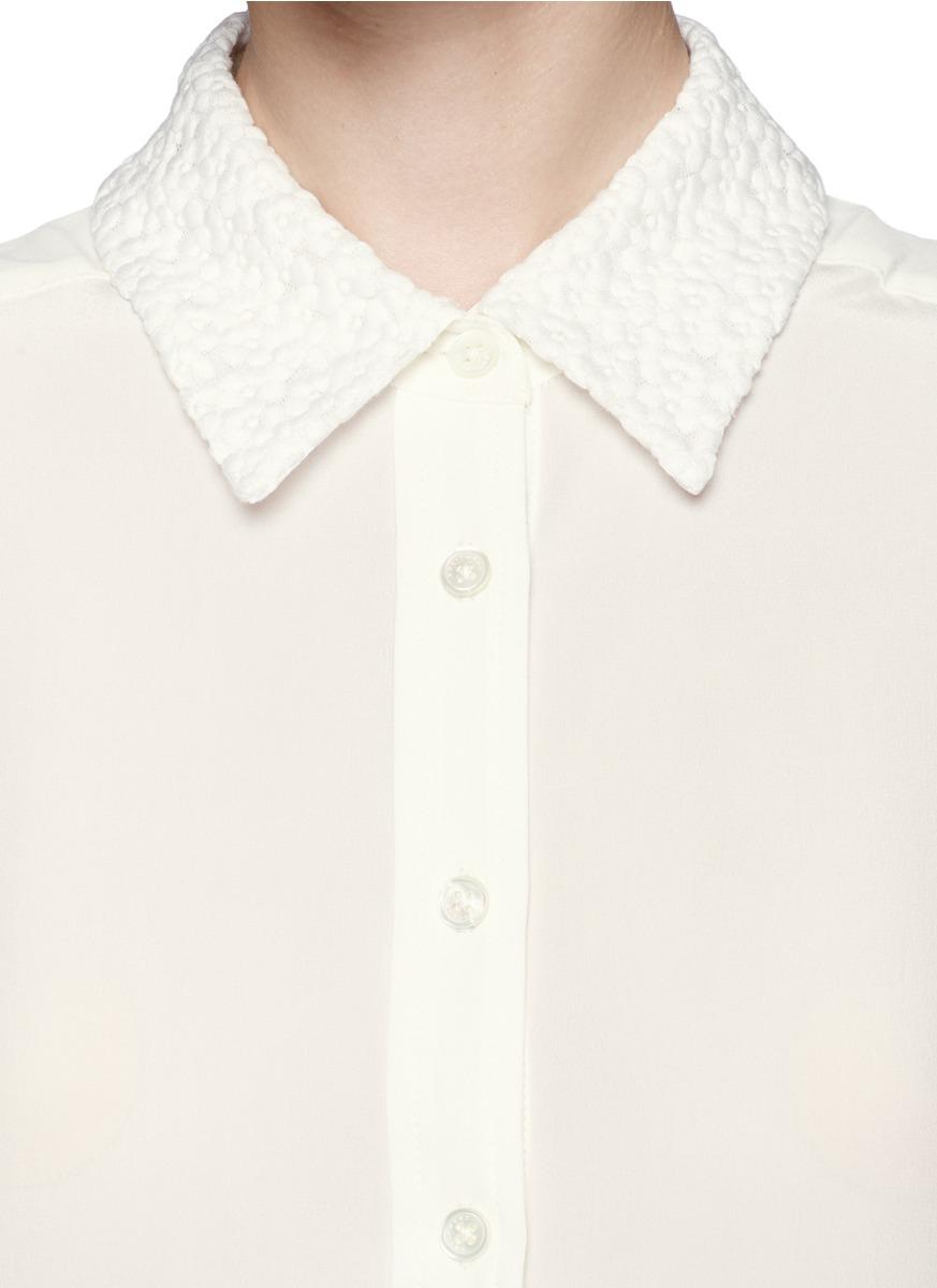 Lyst Equipment Brett Embroidered Collar Shirt In Natural