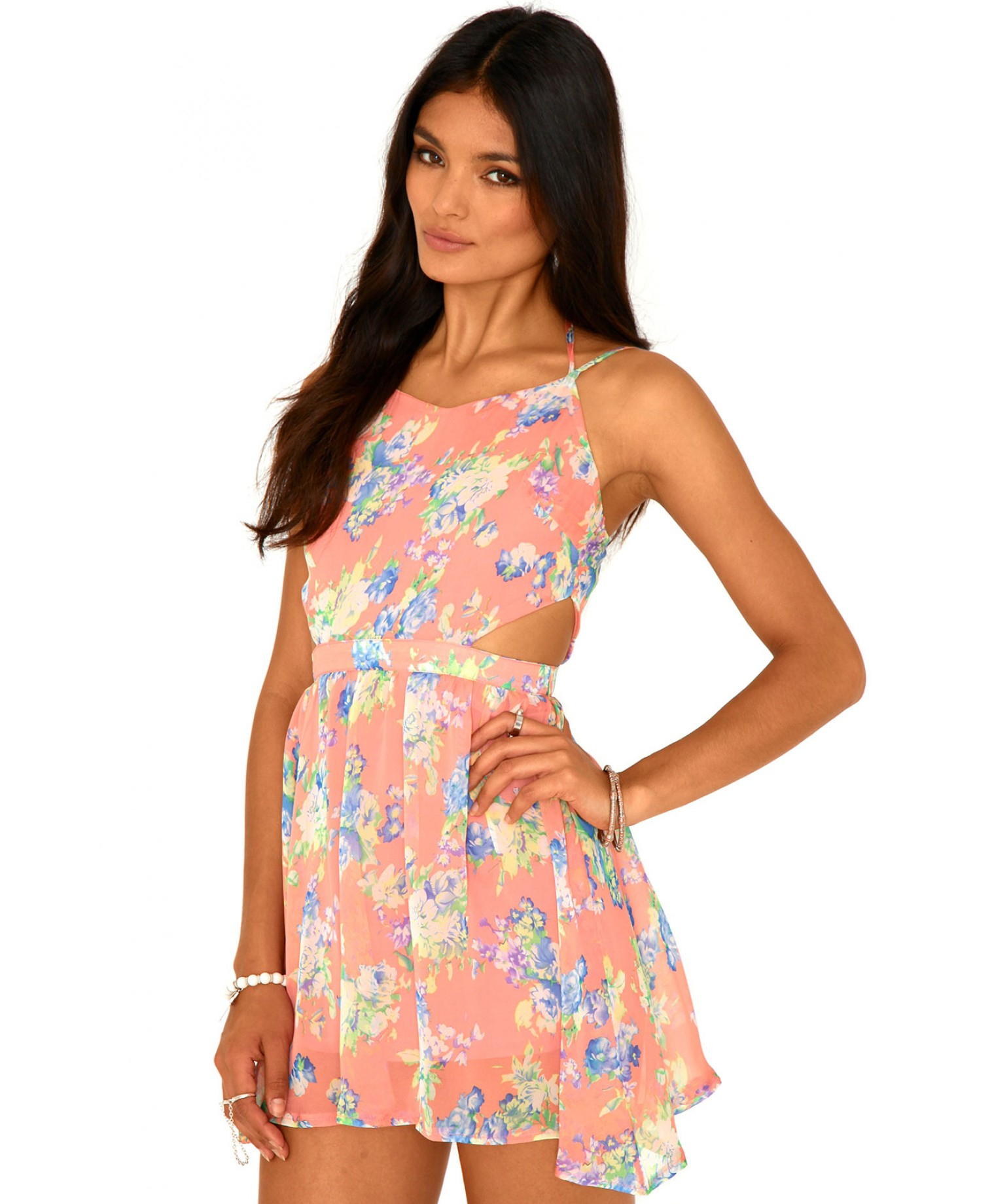 Lyst - Missguided Misty Floral Cut Out Skater Dress In Coral 6185b486f
