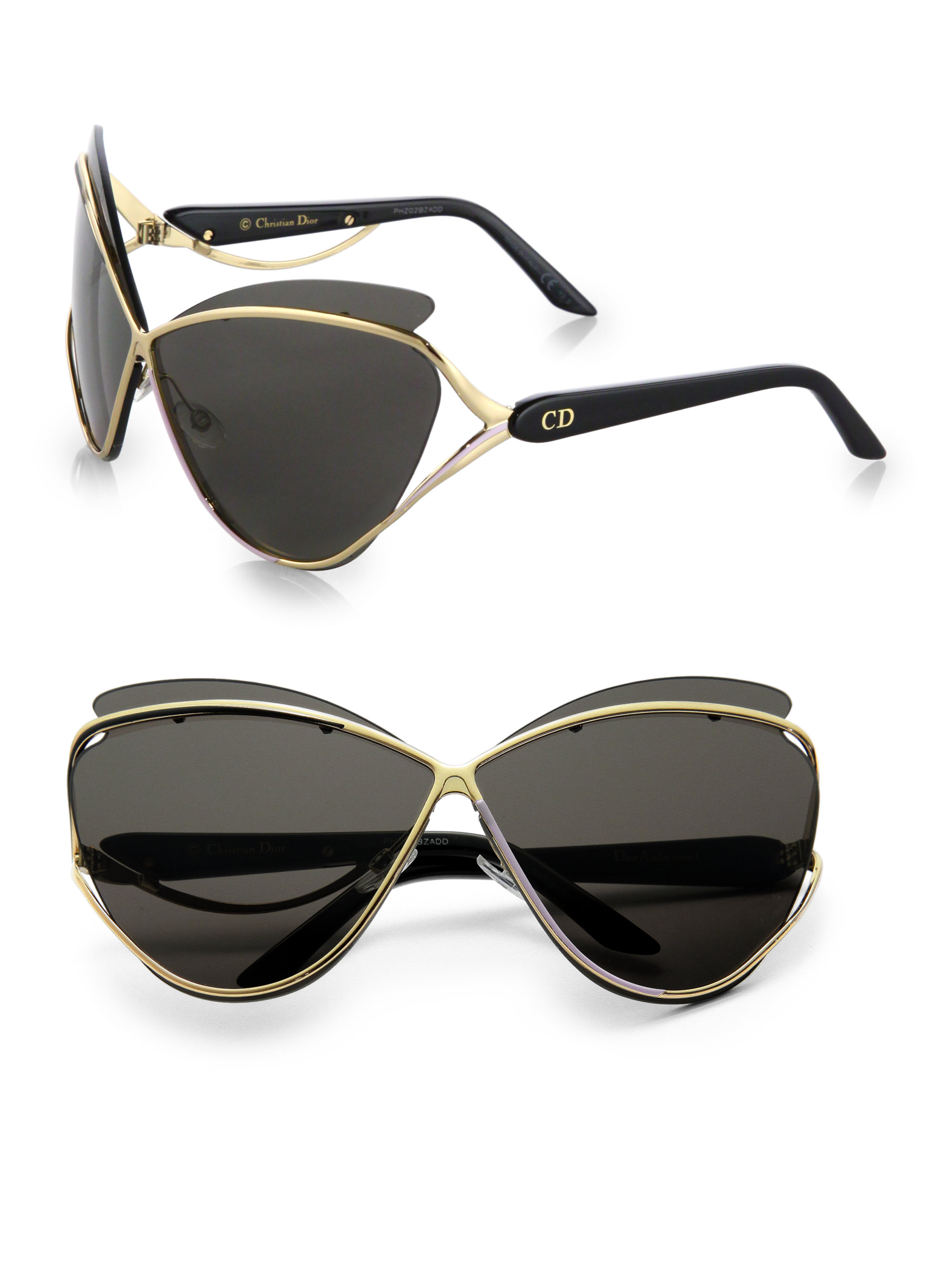 63ee34a74f Lyst - Dior Exaggerated Two-tone Cat s-eye Sunglasses in Black