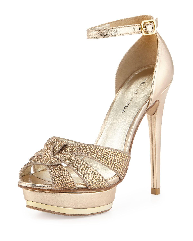 Metallic Gold Peep Toe Pumps