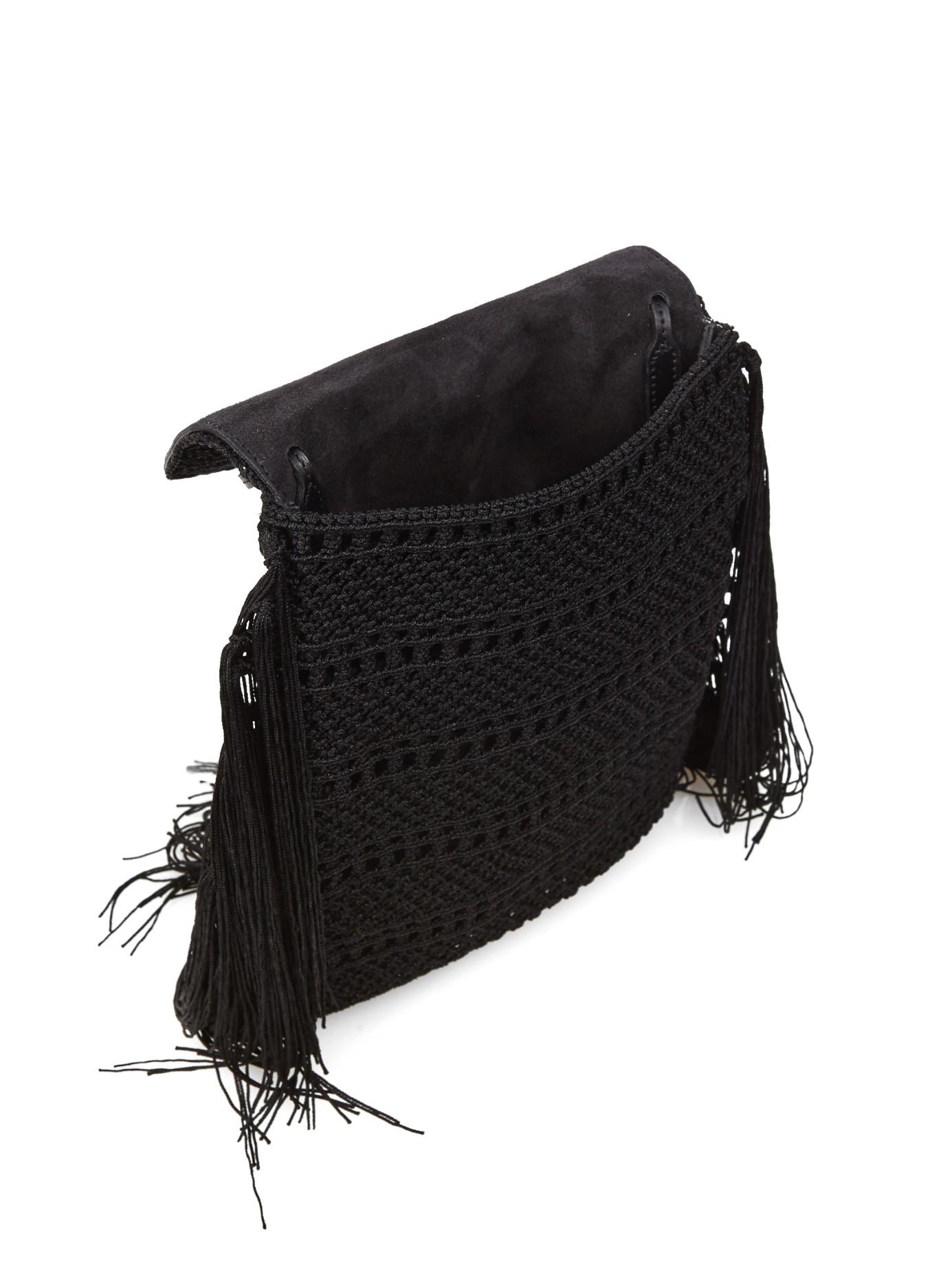 c9332fc5d6 monogram crochet fringe clutch bag