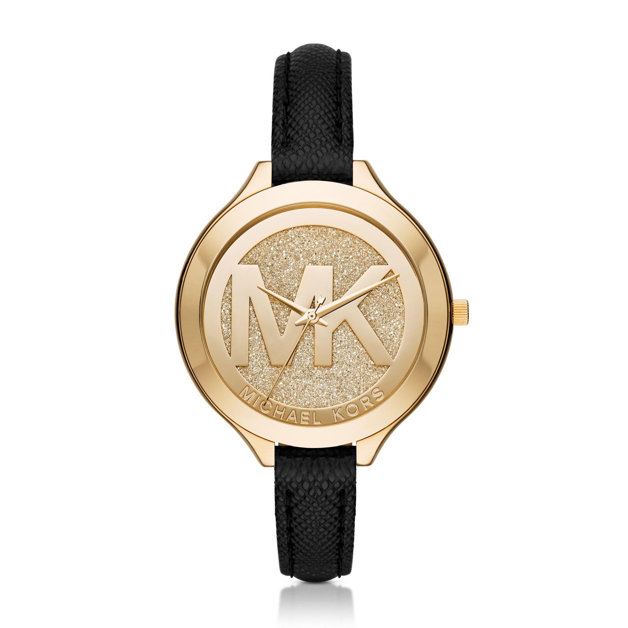 michael kors slim runway pav 233 gold tone and leather