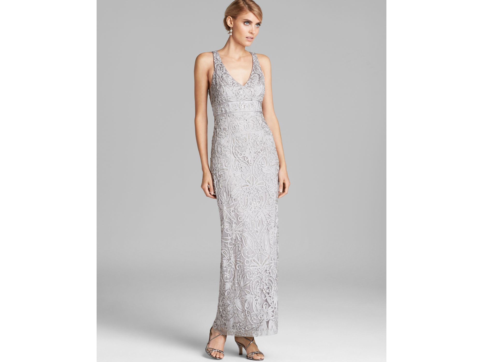 Sue Wong V Neck Beaded Gown in Black - Lyst