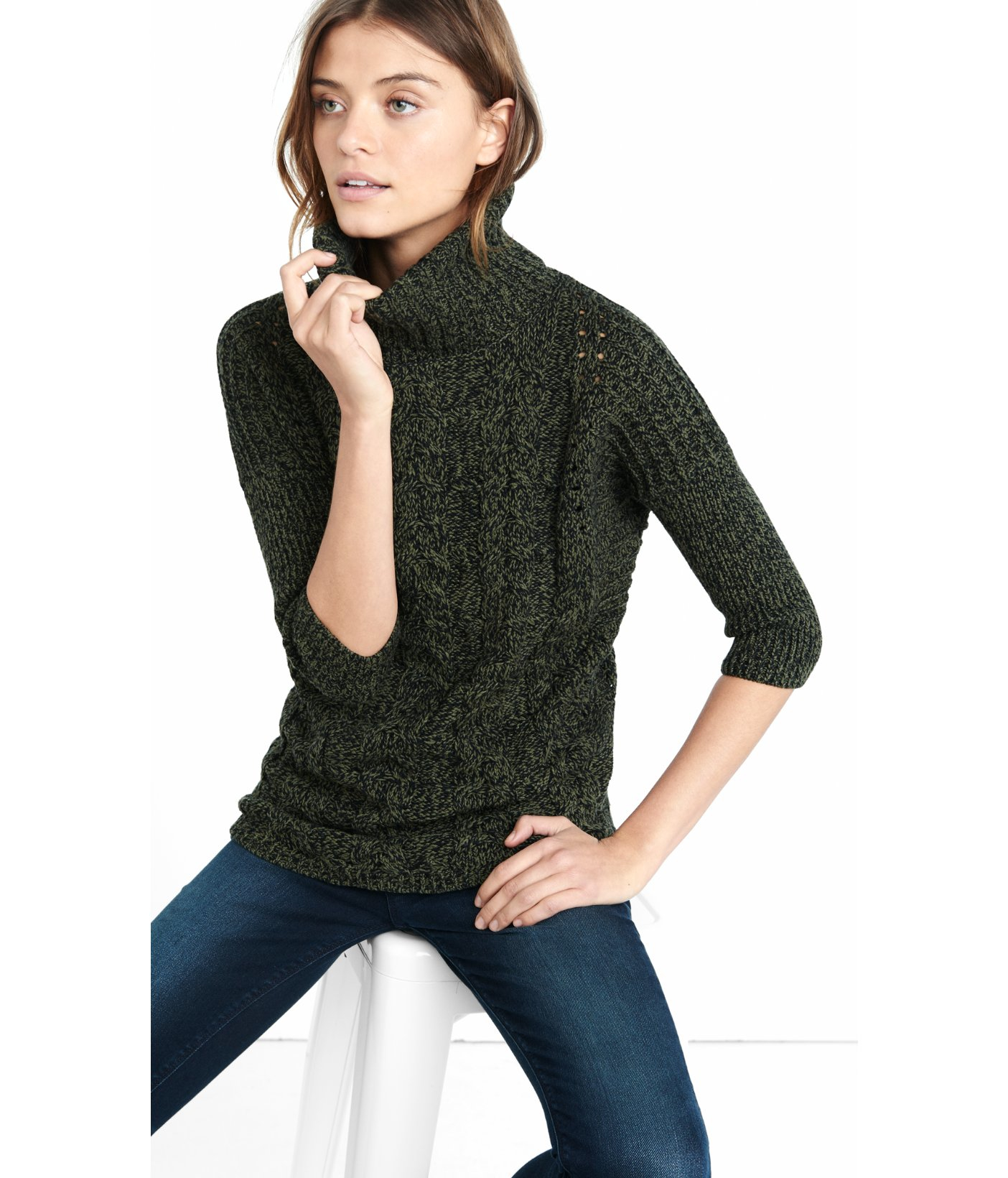 Express Marled Cable Turtleneck Tunic Sweater in Green | Lyst