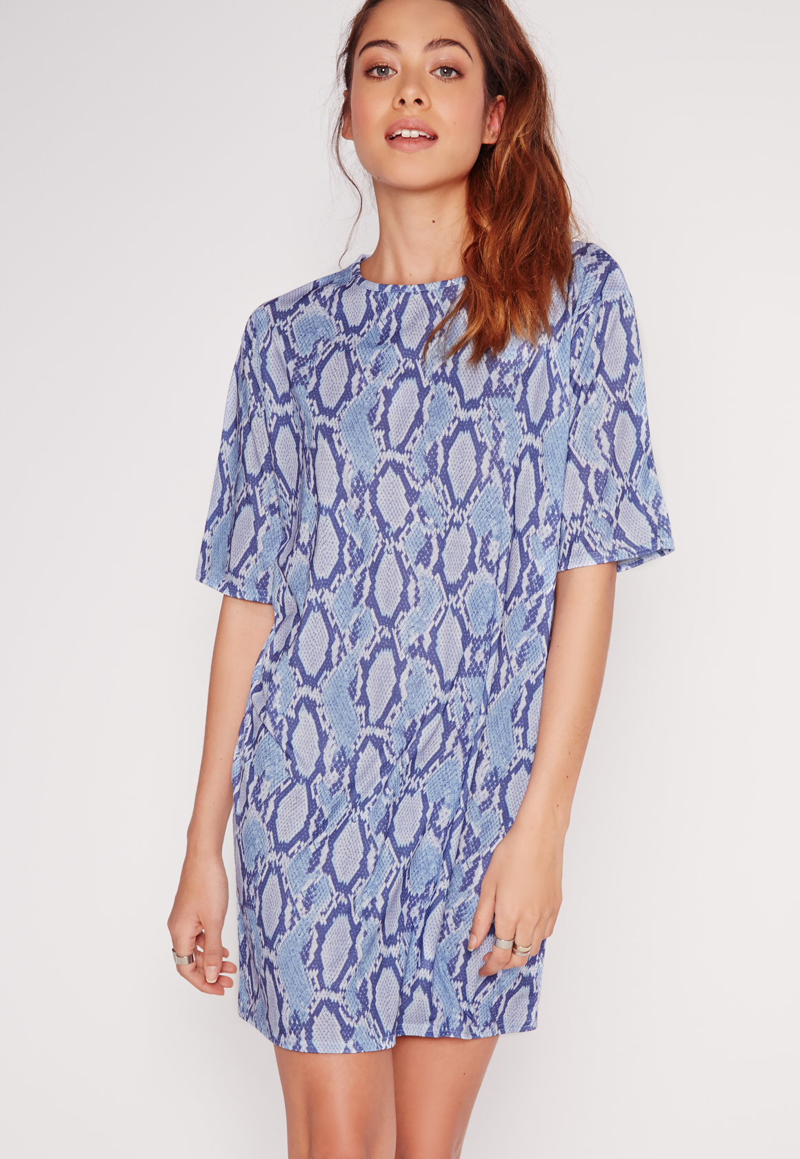 lyst missguided snake print t shirt dress blue in blue