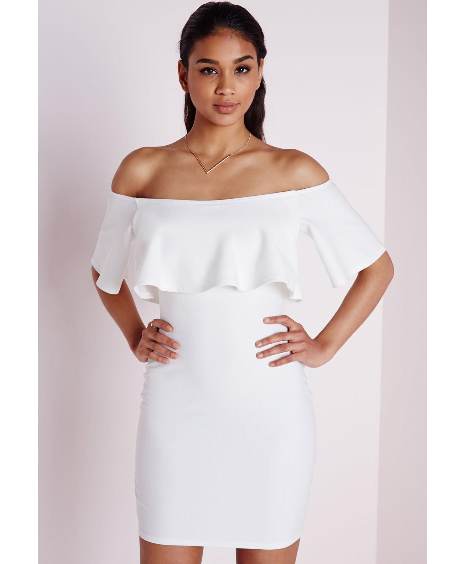 6691f9e0f Lyst - Missguided Crepe Frill Bodycon Dress White in White