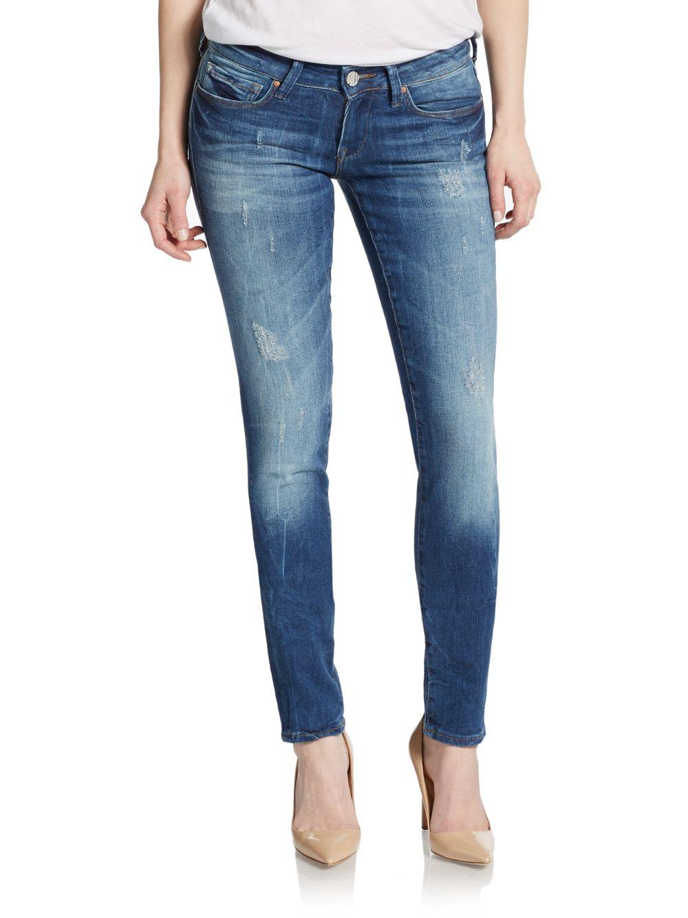 lyst mavi jeans serena low rise super skinny jeans in blue. Black Bedroom Furniture Sets. Home Design Ideas