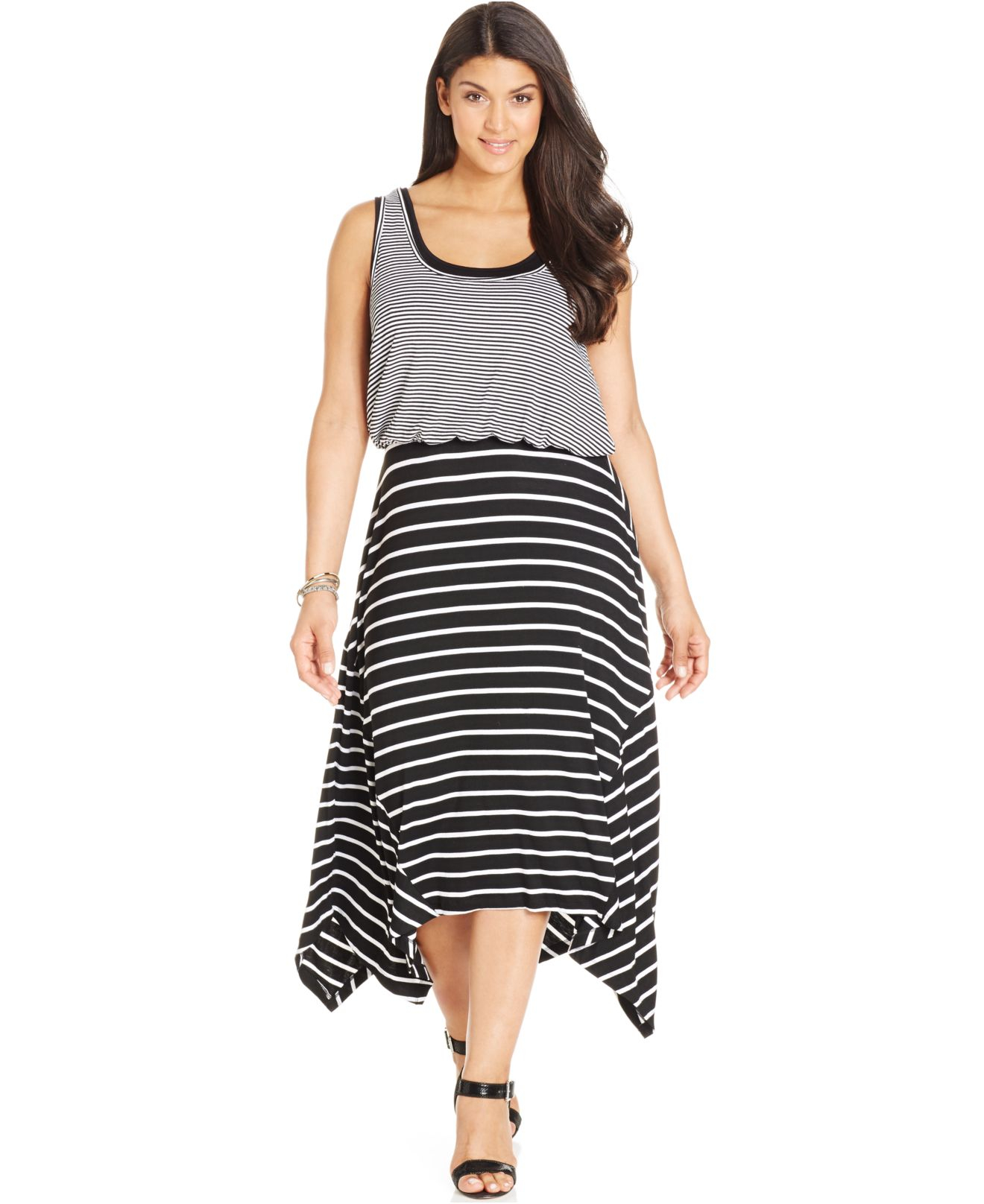 Lyst - Style & co. Style&co. Plus Size Striped Layered-look Maxi ...