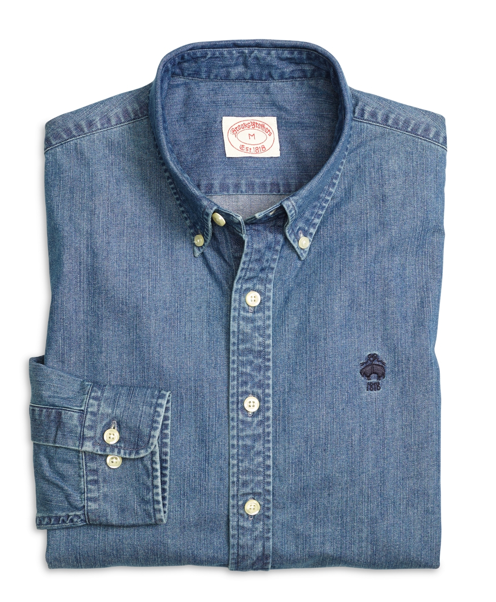 Brooks brothers denim sport shirt in blue for men lyst for Brooks brothers sports shirts