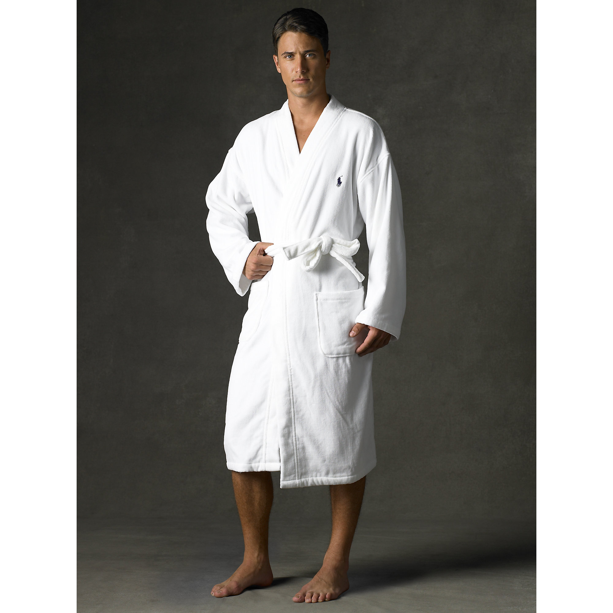 polo ralph lauren terry kimono robe in white for men lyst. Black Bedroom Furniture Sets. Home Design Ideas