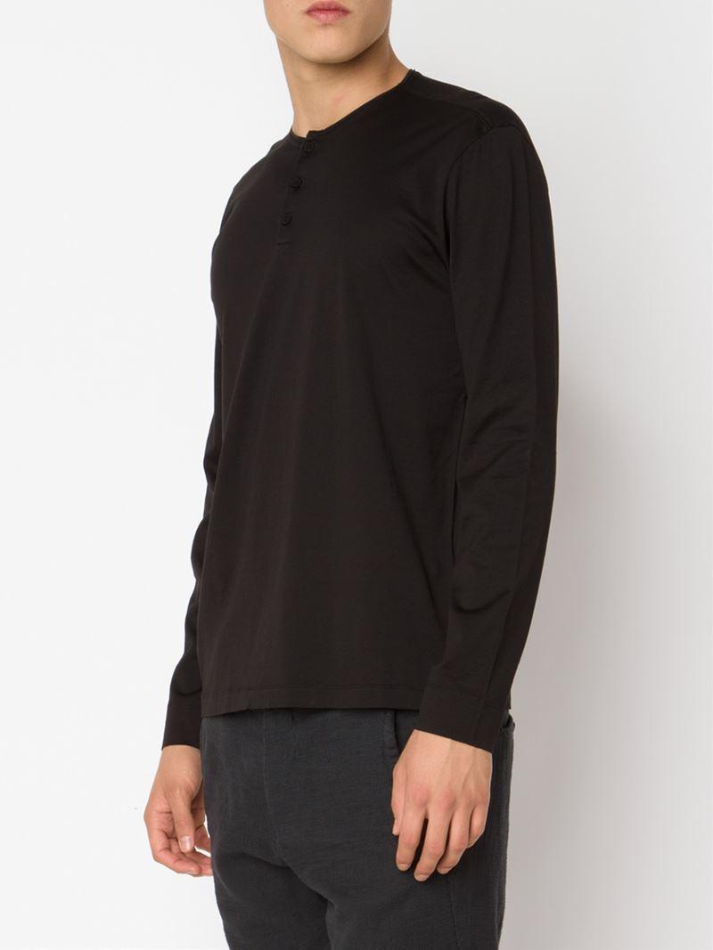 Lyst transit longsleeved henley t shirt in black for men for Black long sleeve henley shirt