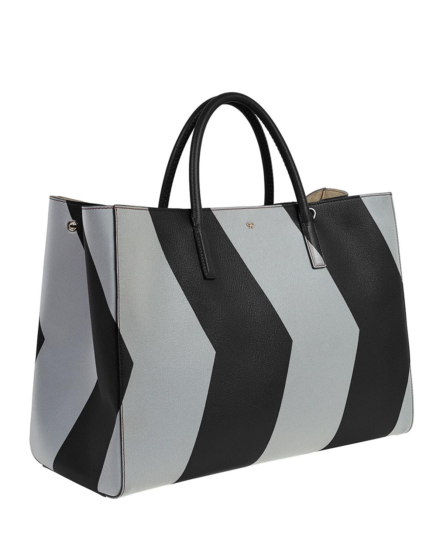 Lyst anya hindmarch ebury maxi featherweight chevron tote bag in black jpg  1200x1500 Chevron totes 6ec1f8934e