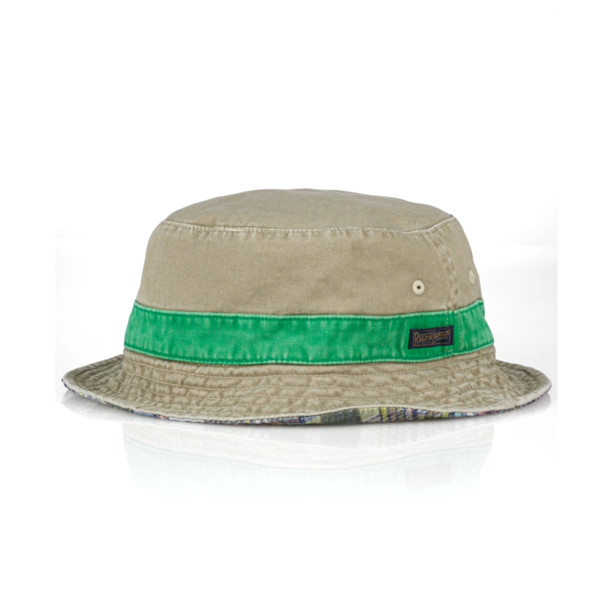143d5c5590031 Ralph Lauren Polo Reversible Twillandmadras Bucket Hat in Natural ...