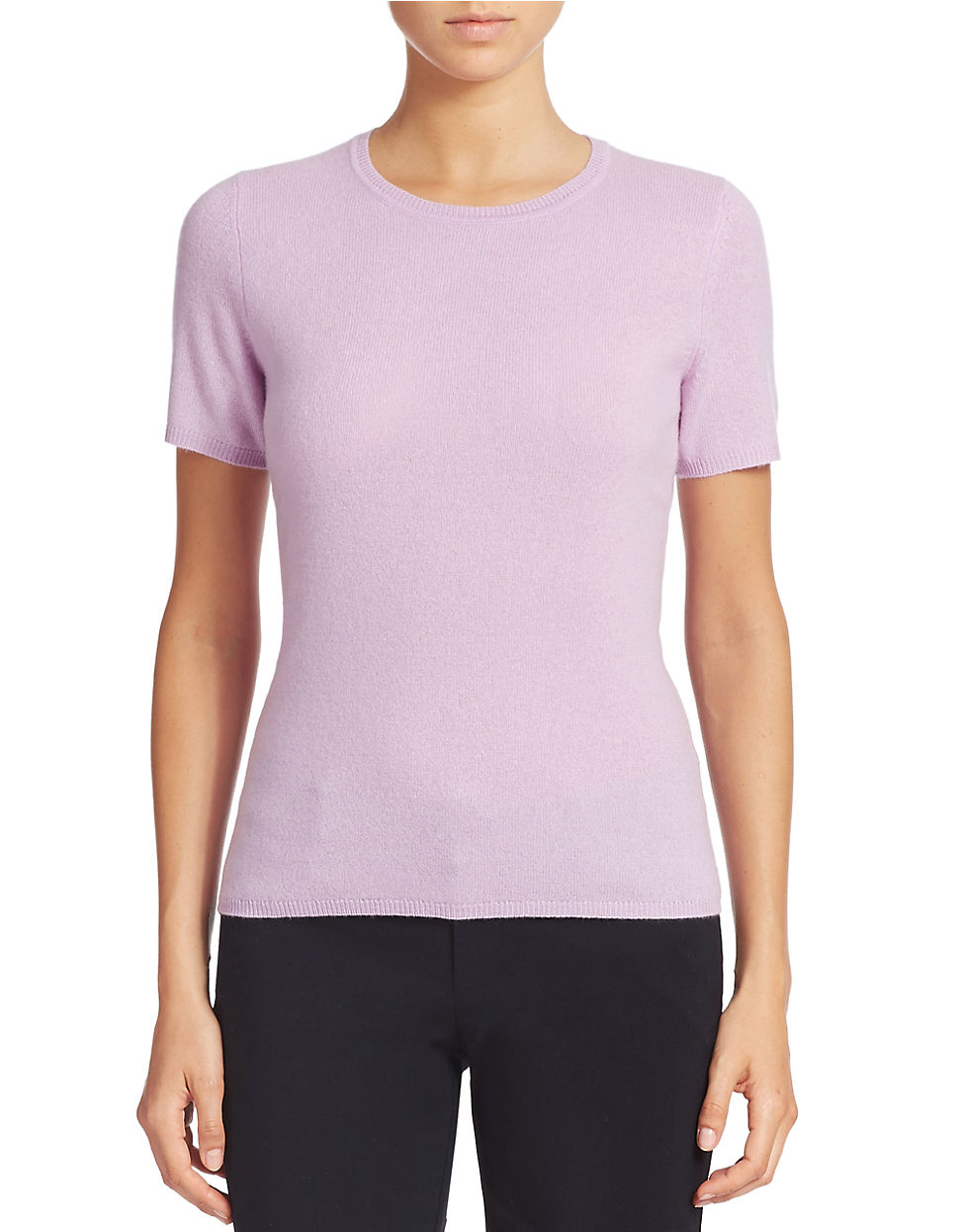 Lord & taylor Short Sleeve Cashmere Crewneck Sweater in Pink | Lyst