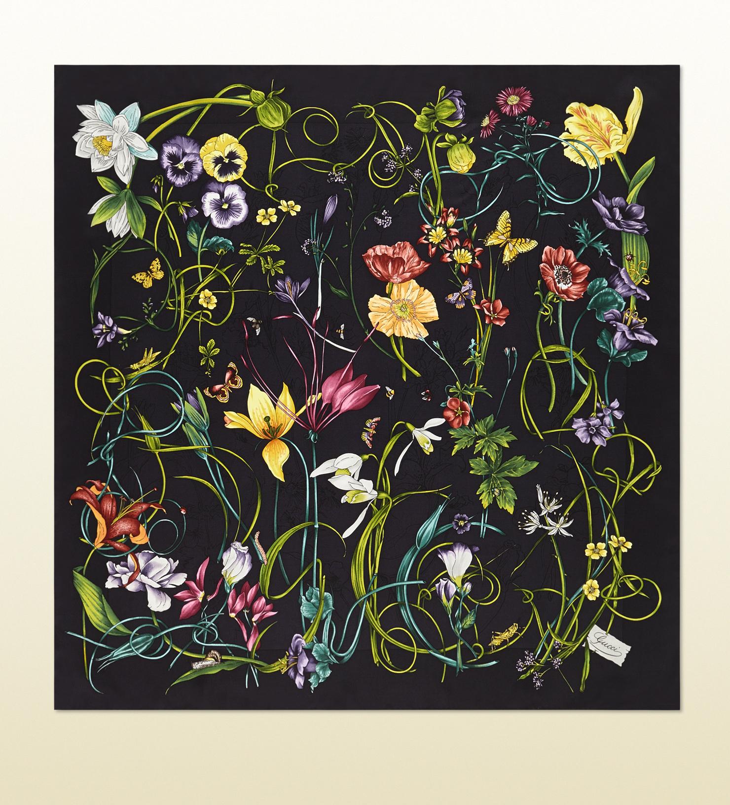 gucci flora infinity print silk foulard in black for men