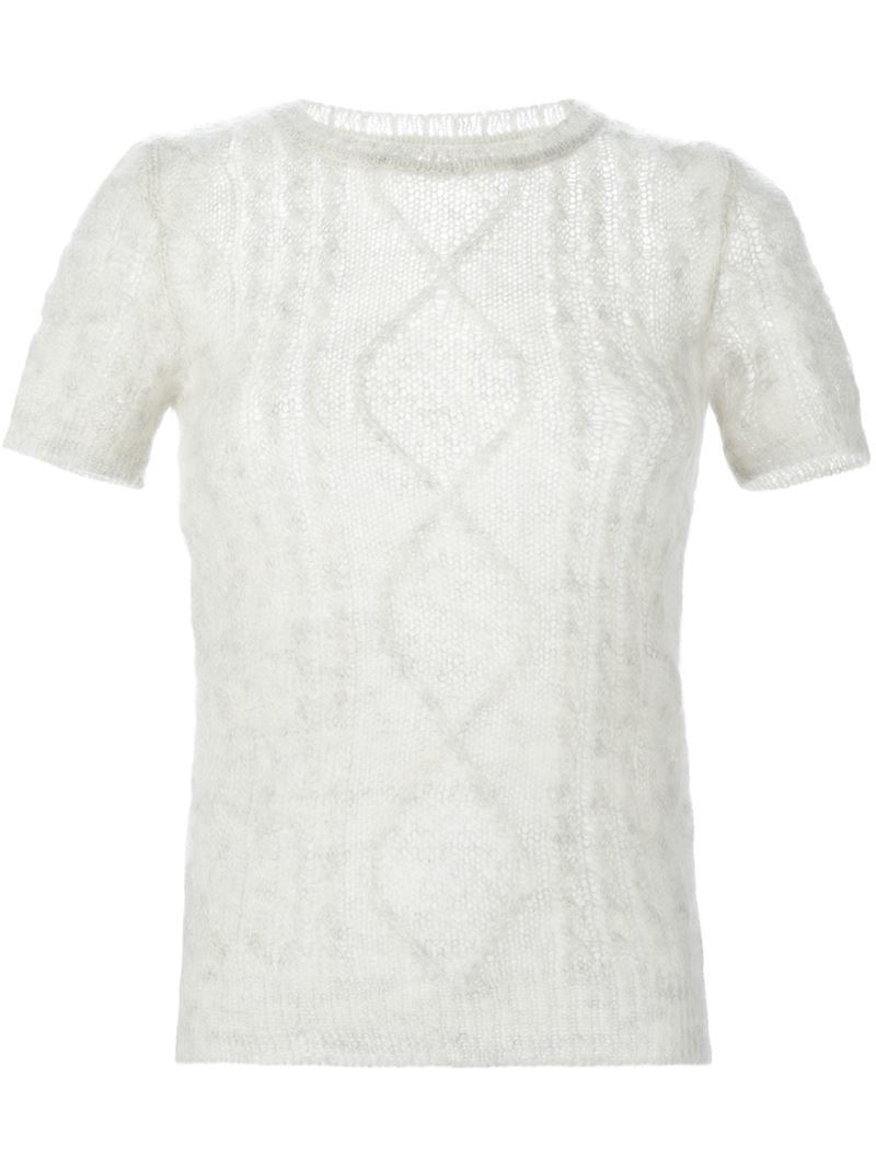 Ermanno scervino Short Sleeve Cable Knit Sweater in Natural | Lyst