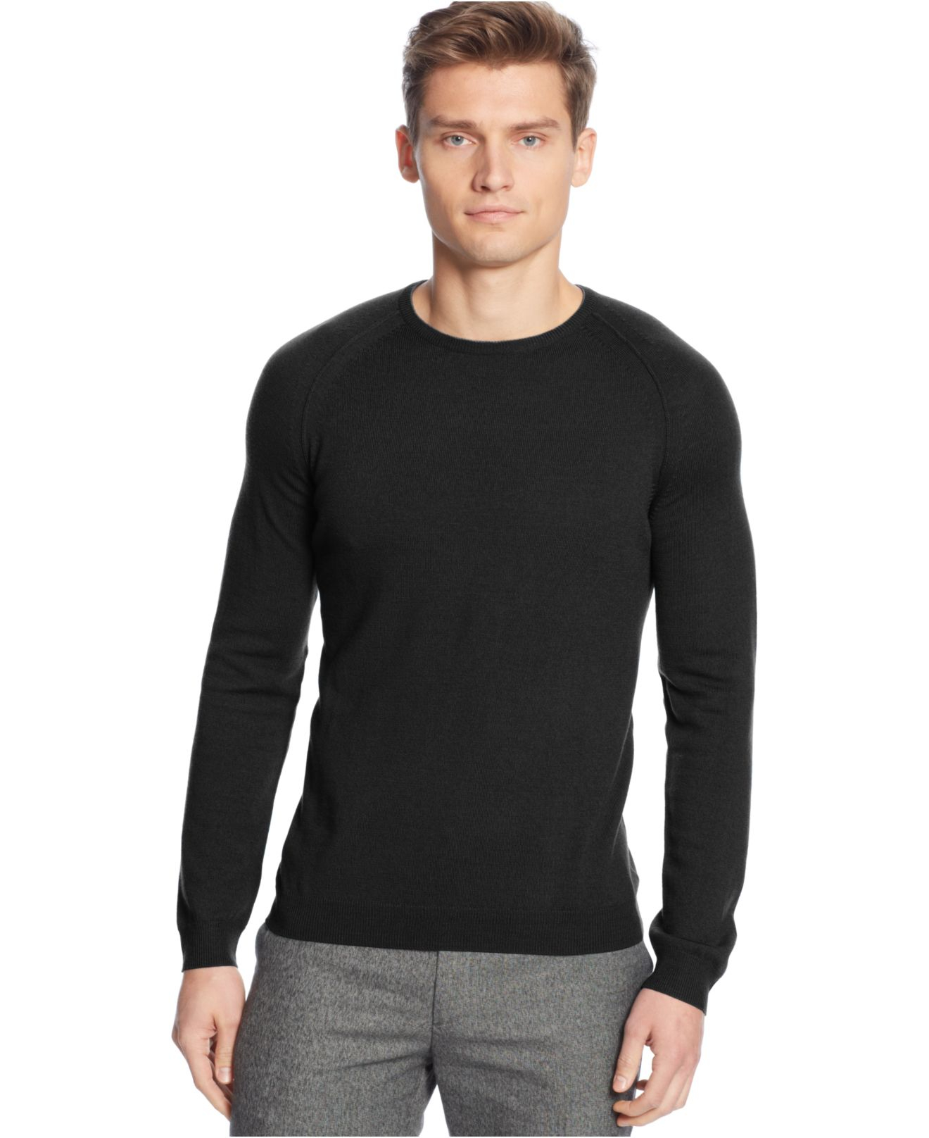Calvin klein Solid Merino Wool Raglan Crew-Neck Sweater in Black ...