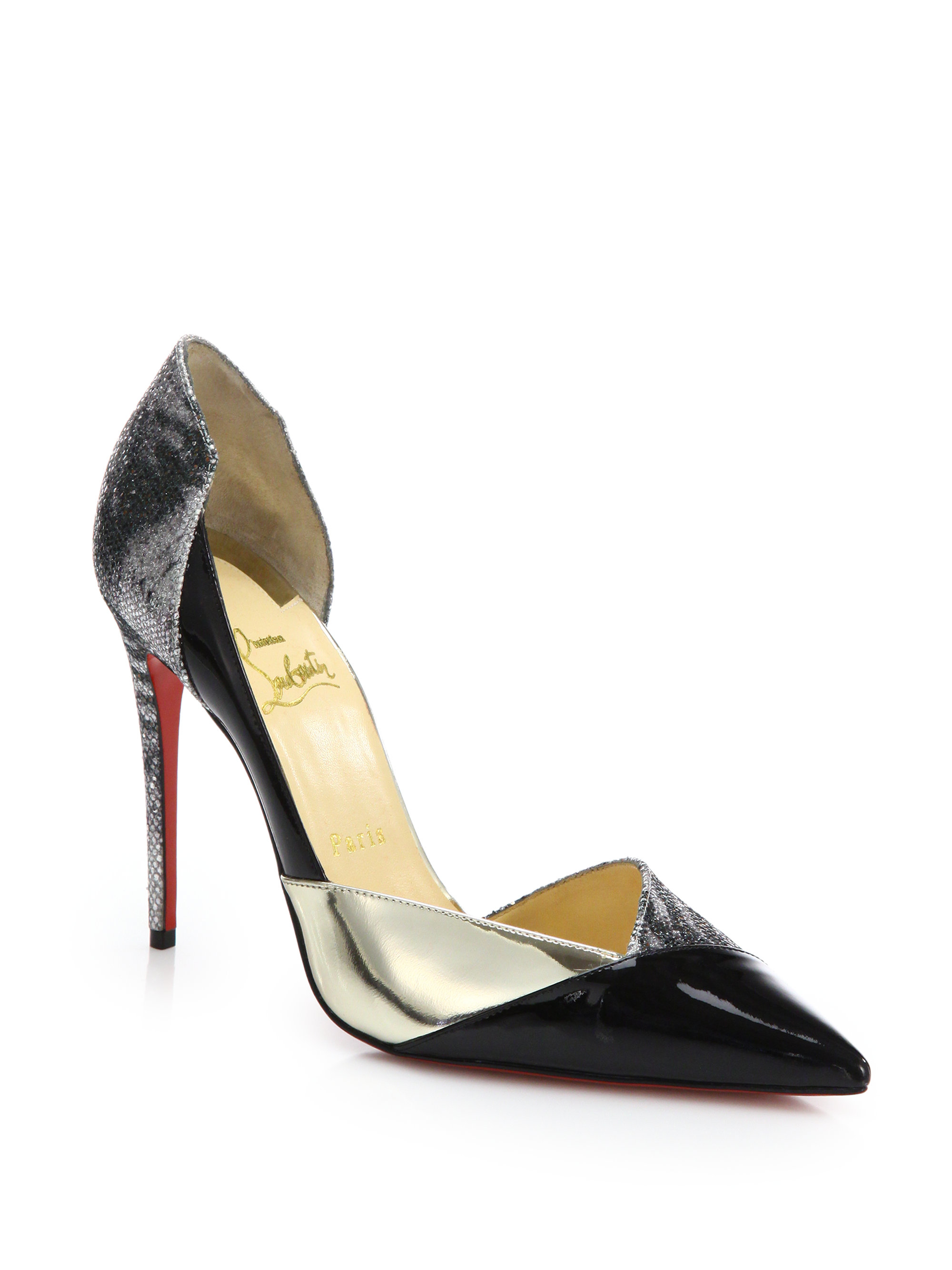 Christian louboutin Tac-Clac Patchwork Patent Leather D\u0026#39;Orsay ...